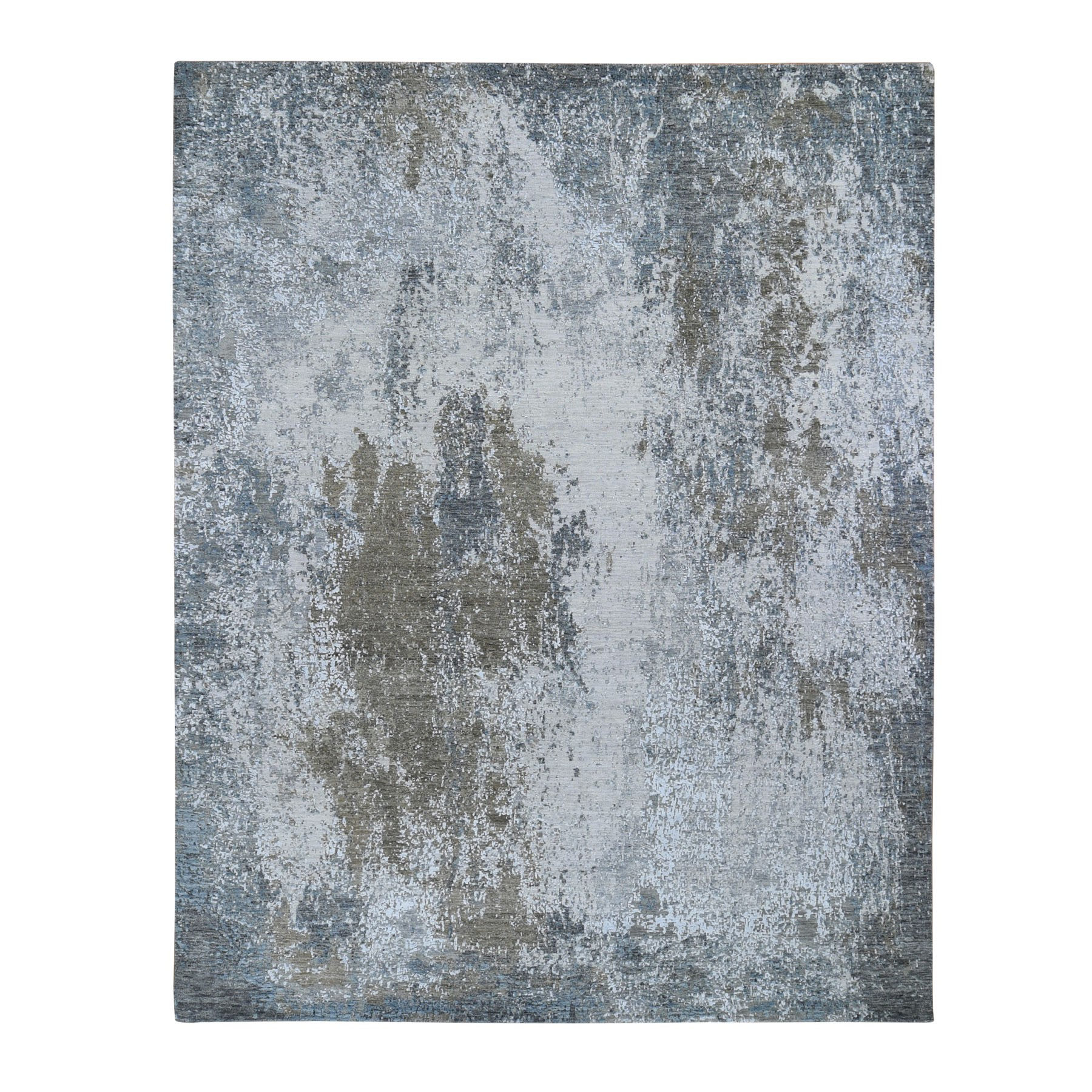 Mid Century Modern Collection Hand Knotted Grey Rug No: 1118088