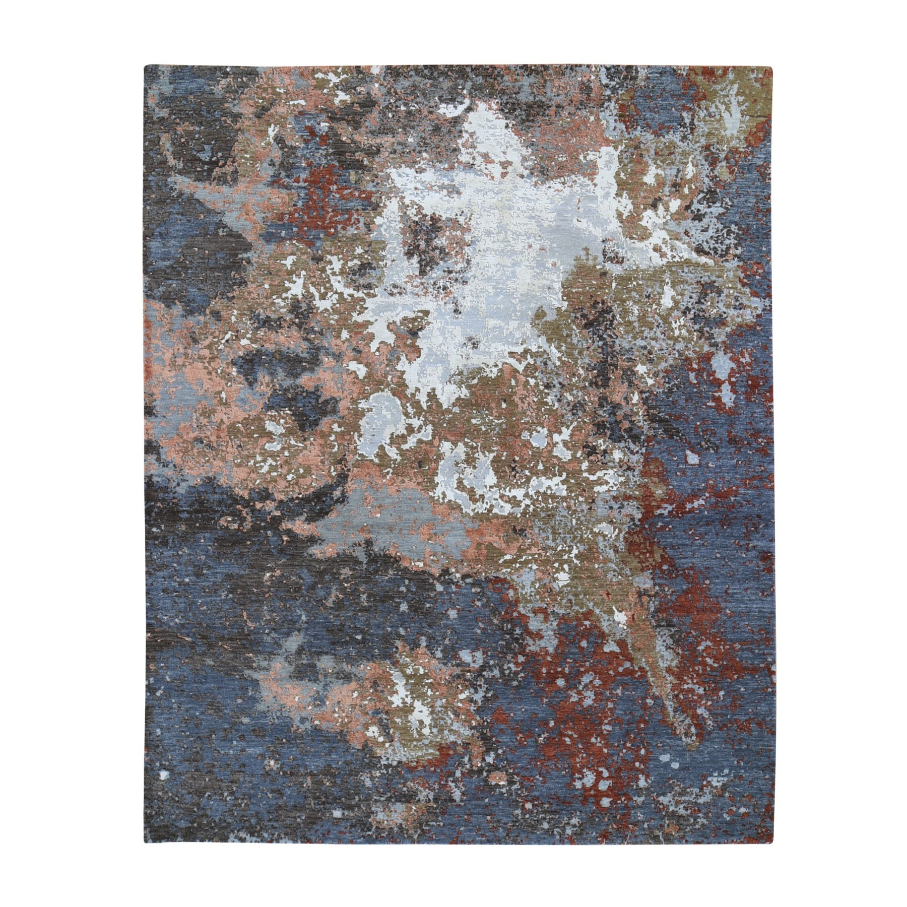 Mid Century Modern Collection Hand Knotted Grey Rug No: 1118092