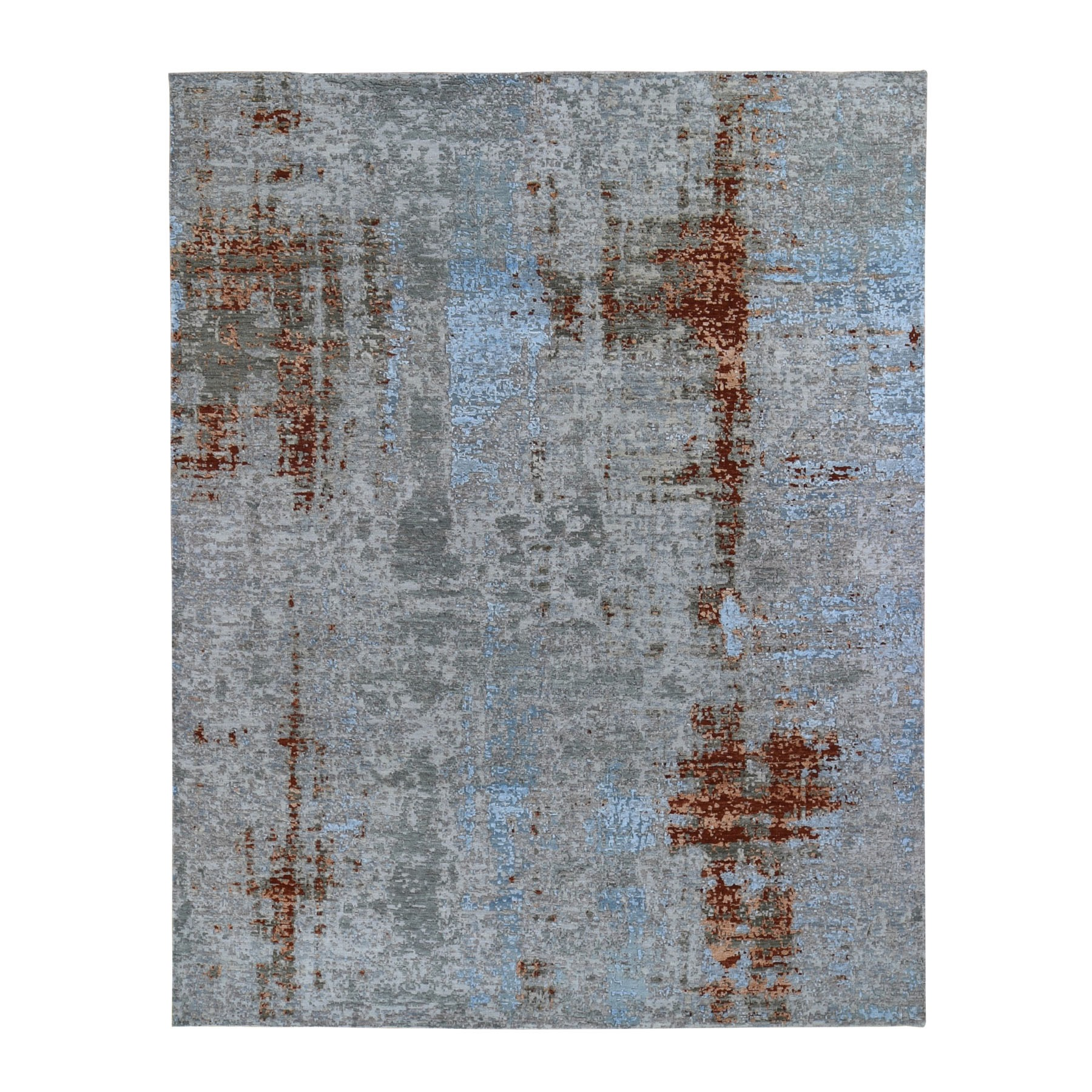 Mid Century Modern Collection Hand Knotted Grey Rug No: 1118096