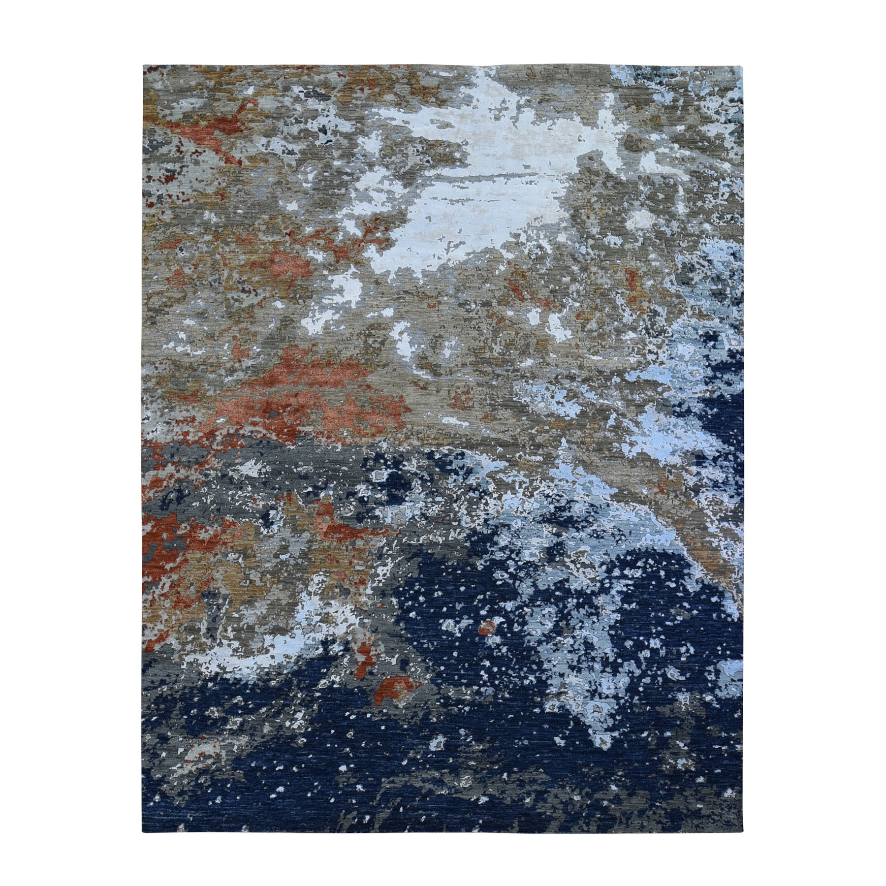 Mid Century Modern Collection Hand Knotted Grey Rug No: 01118128