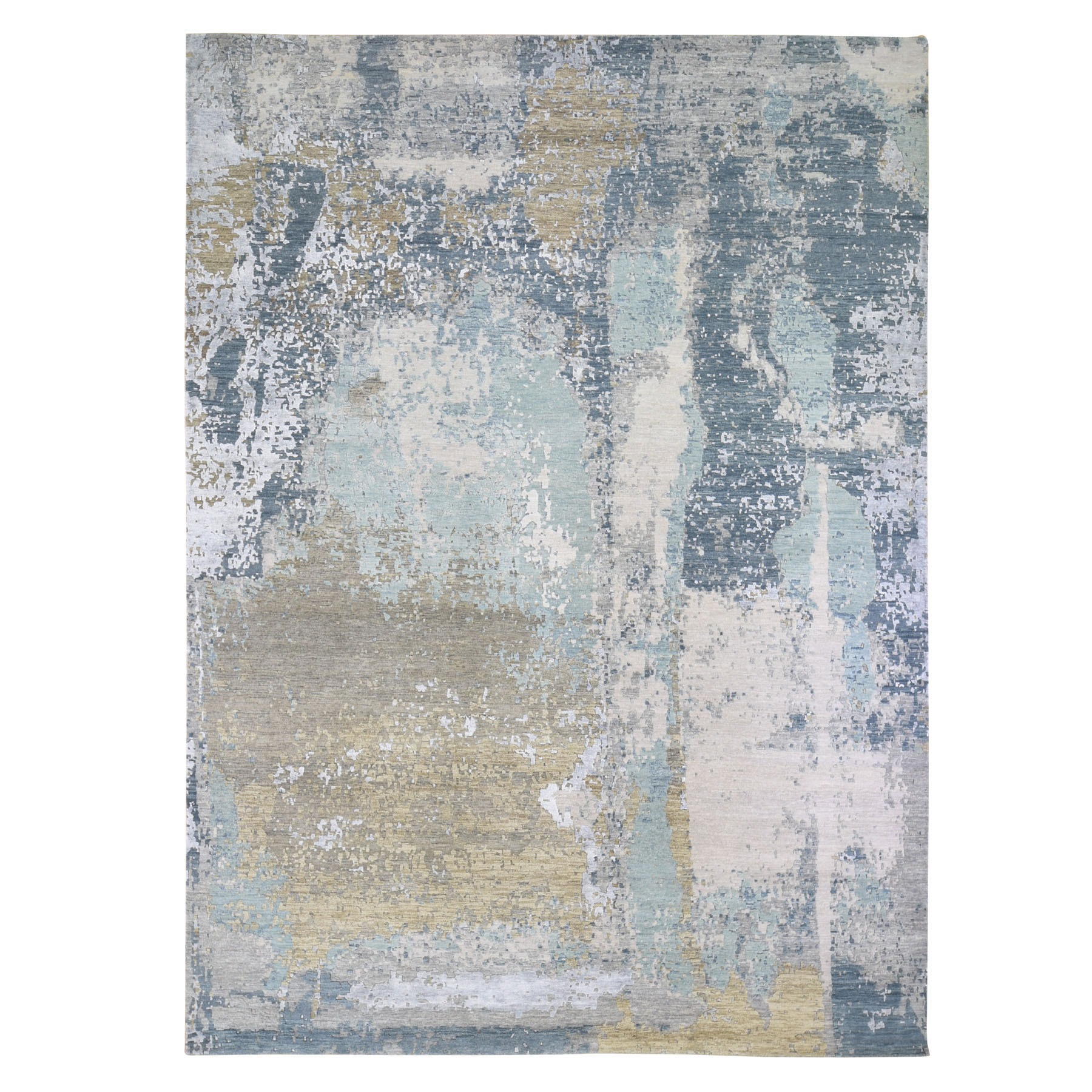 Mid Century Modern Collection Hand Knotted Blue Rug No: 01118122