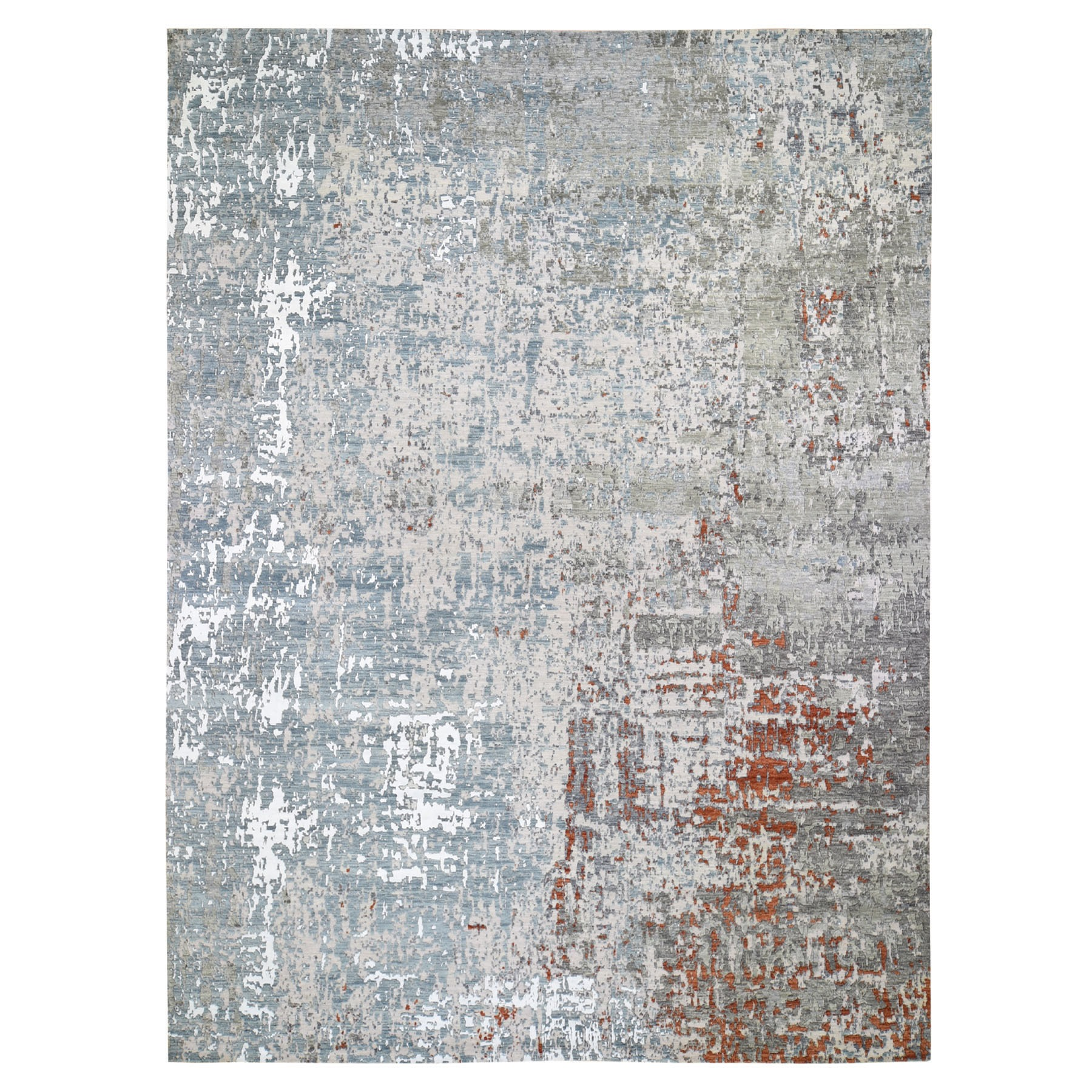 Mid Century Modern Collection Hand Knotted Grey Rug No: 1118126