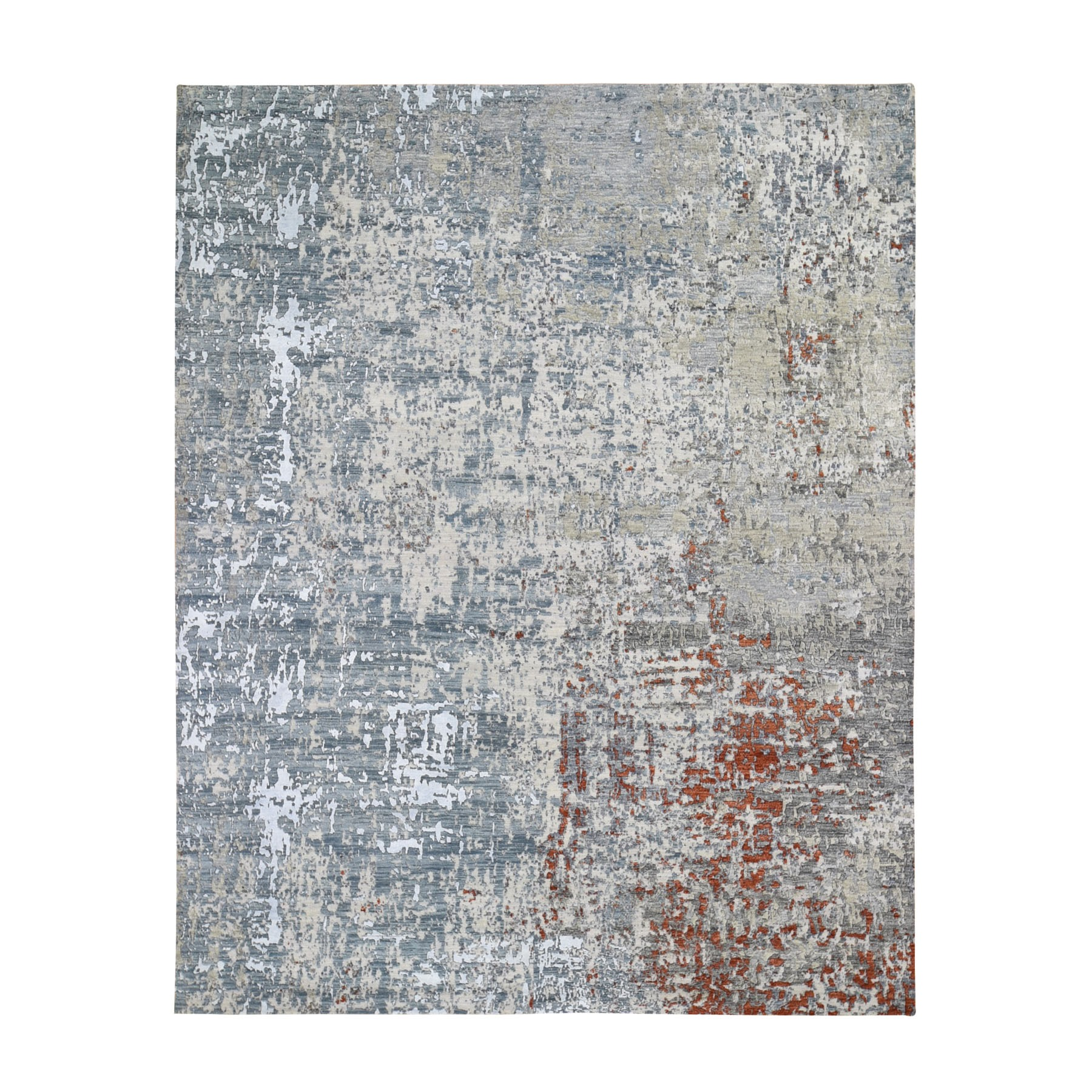 Mid Century Modern Collection Hand Knotted Grey Rug No: 1118136