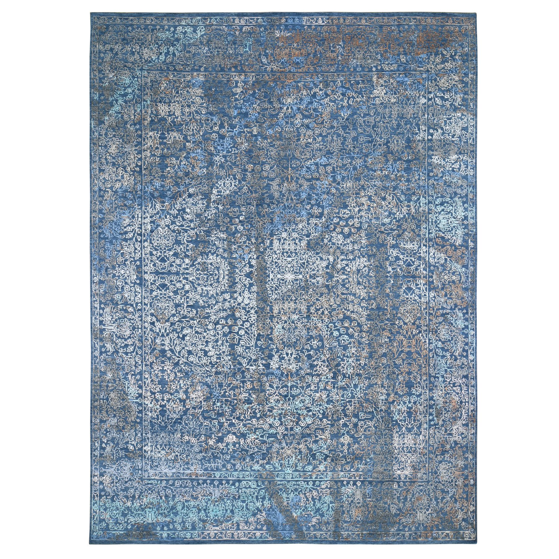 Mid Century Modern Collection Hand Knotted Blue Rug No: 01118114