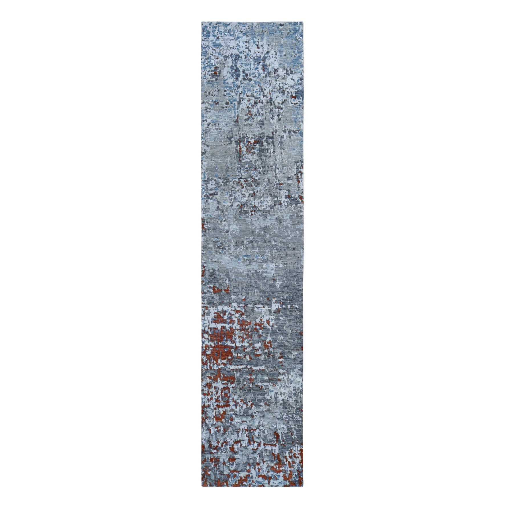Mid Century Modern Collection Hand Knotted Grey Rug No: 01118086