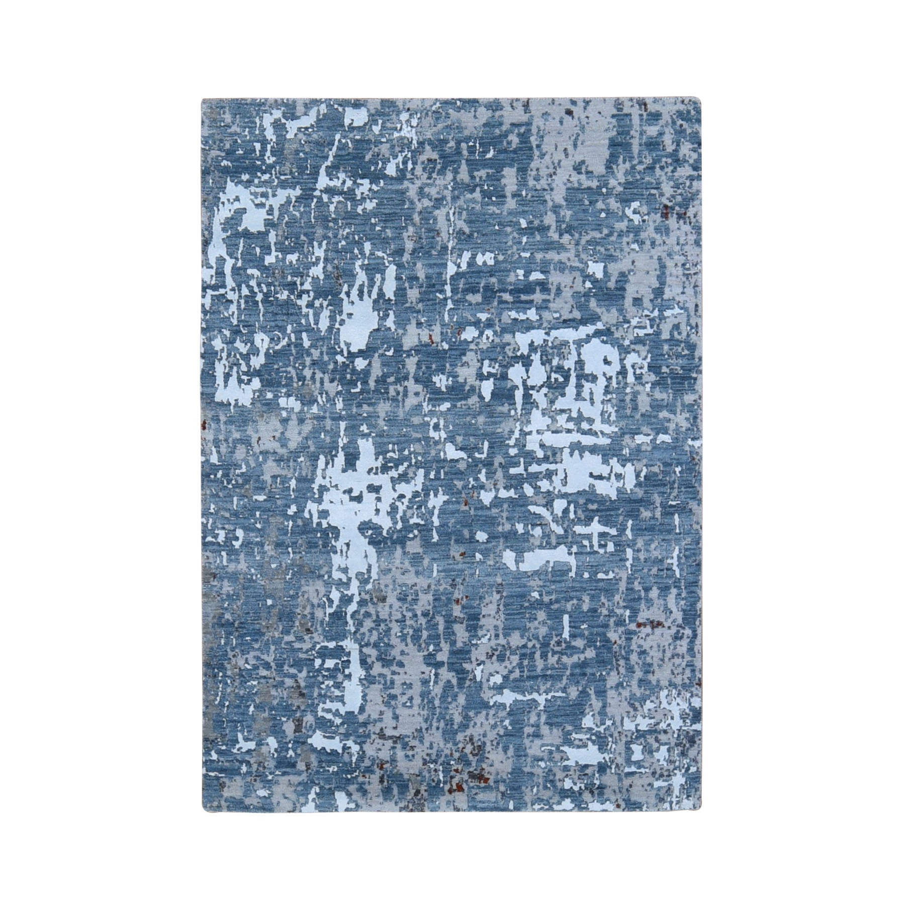 Mid Century Modern Collection Hand Knotted Blue Rug No: 1118164