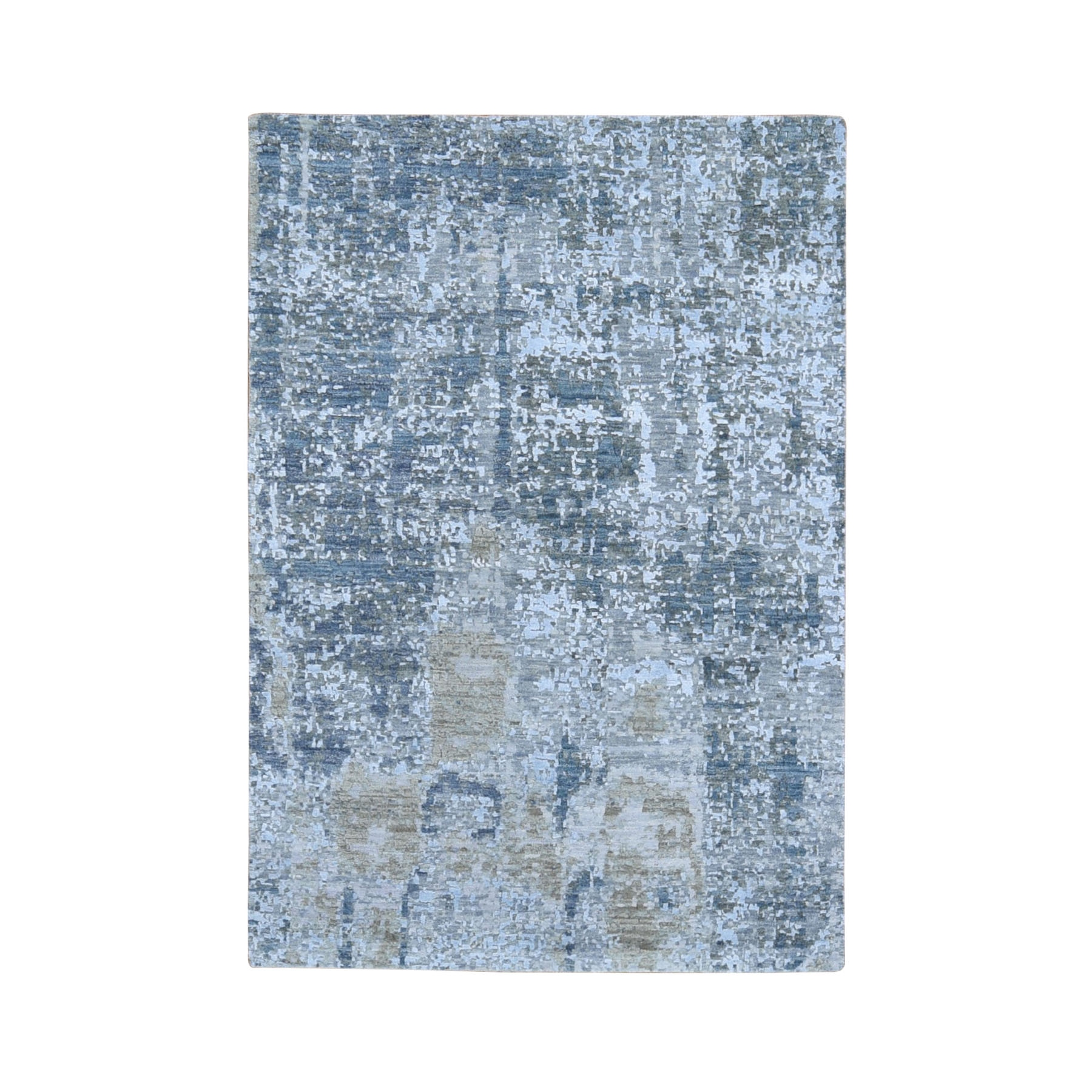 Mid Century Modern Collection Hand Knotted Grey Rug No: 1118168