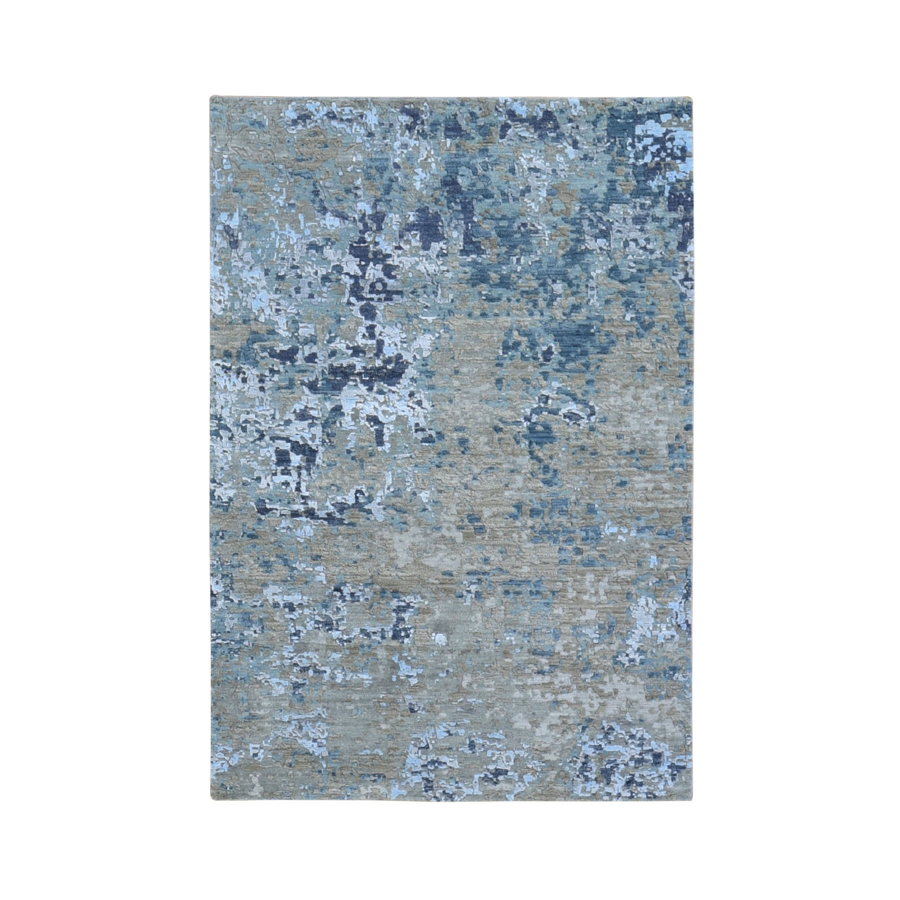 Mid Century Modern Collection Hand Knotted Grey Rug No: 1118176