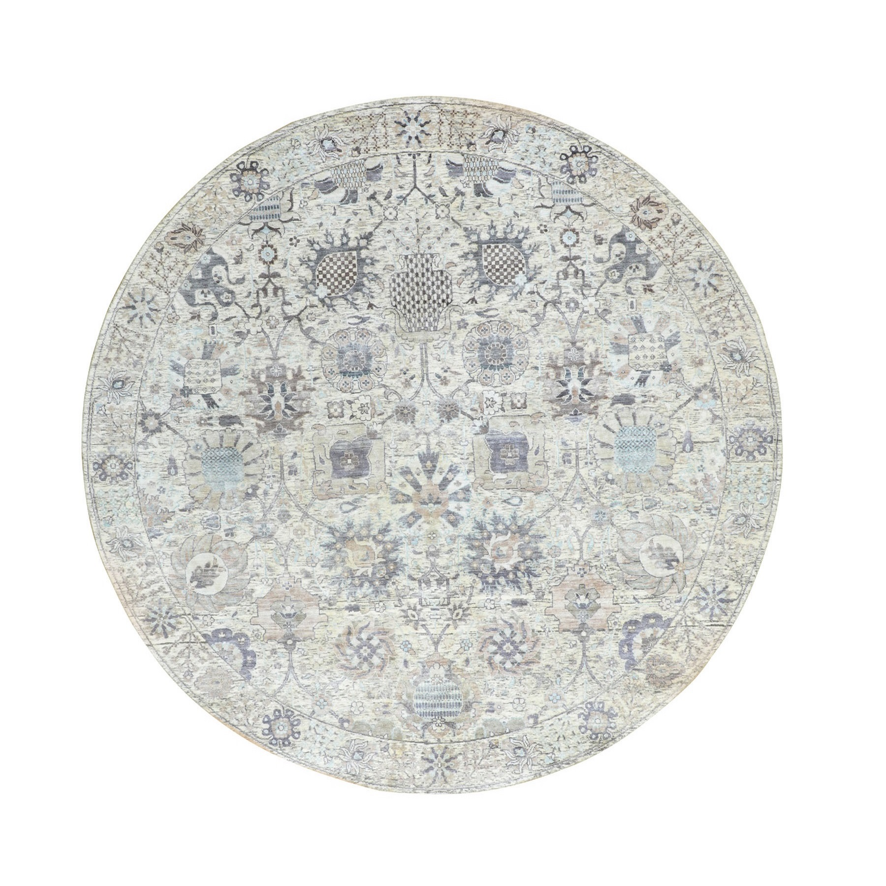 Transitional Hand Knotted Ivory Rug No: 01116340