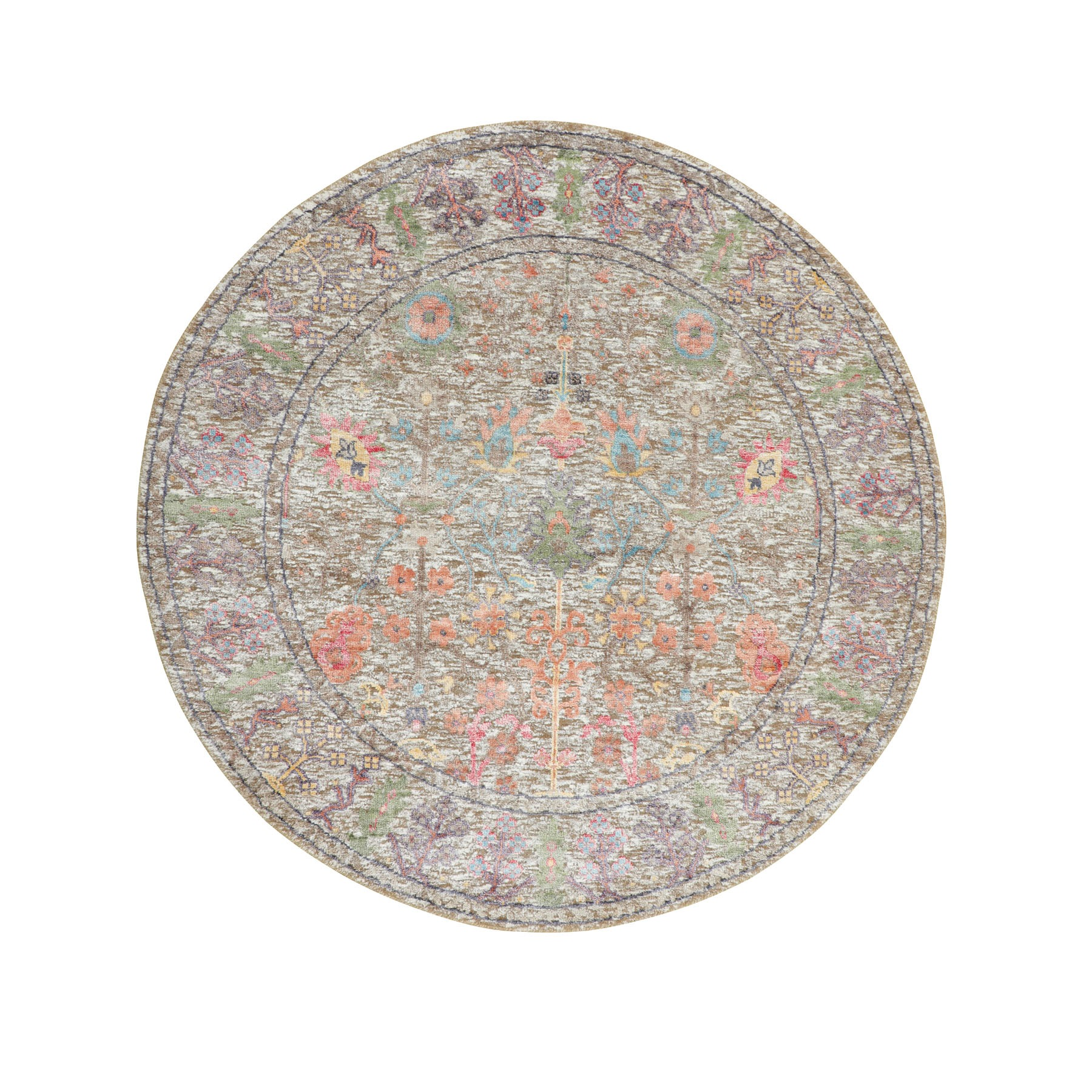 Transitional Hand Knotted Brown Rug No: 1116294