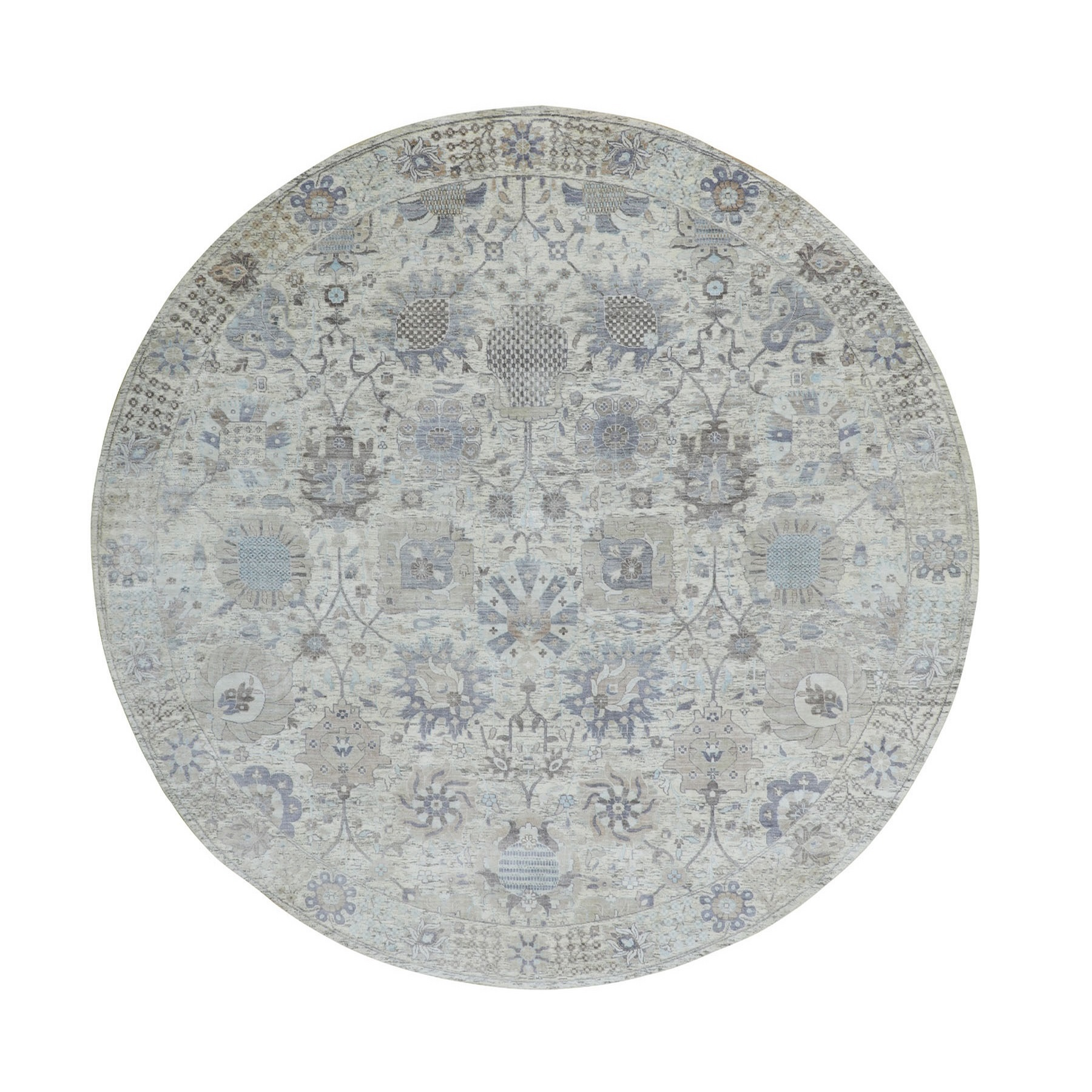 Transitional Hand Knotted Ivory Rug No: 1116330