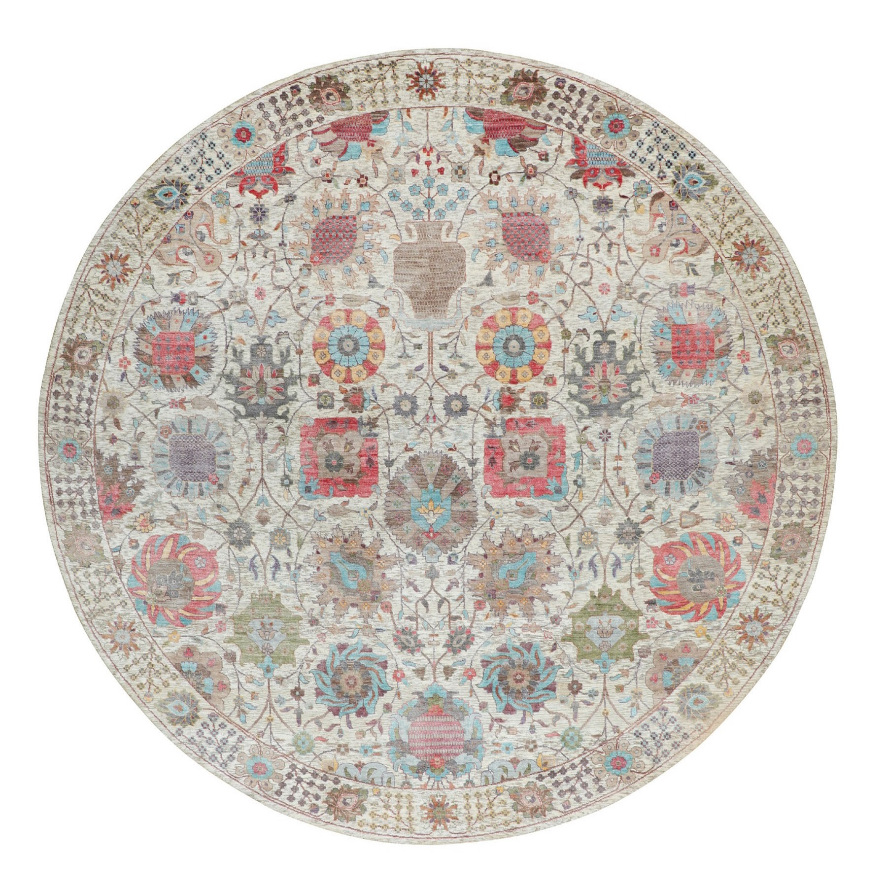 Transitional Hand Knotted Ivory Rug No: 1116348