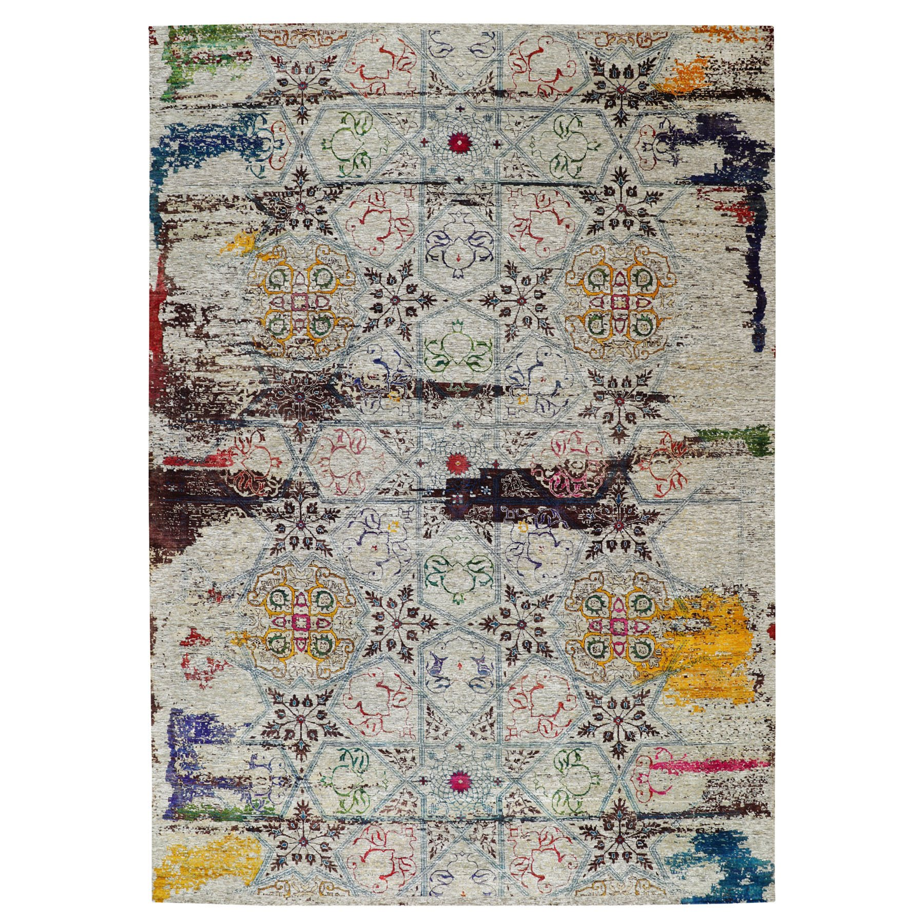 Transitional Hand Knotted Grey Rug No: 1116424