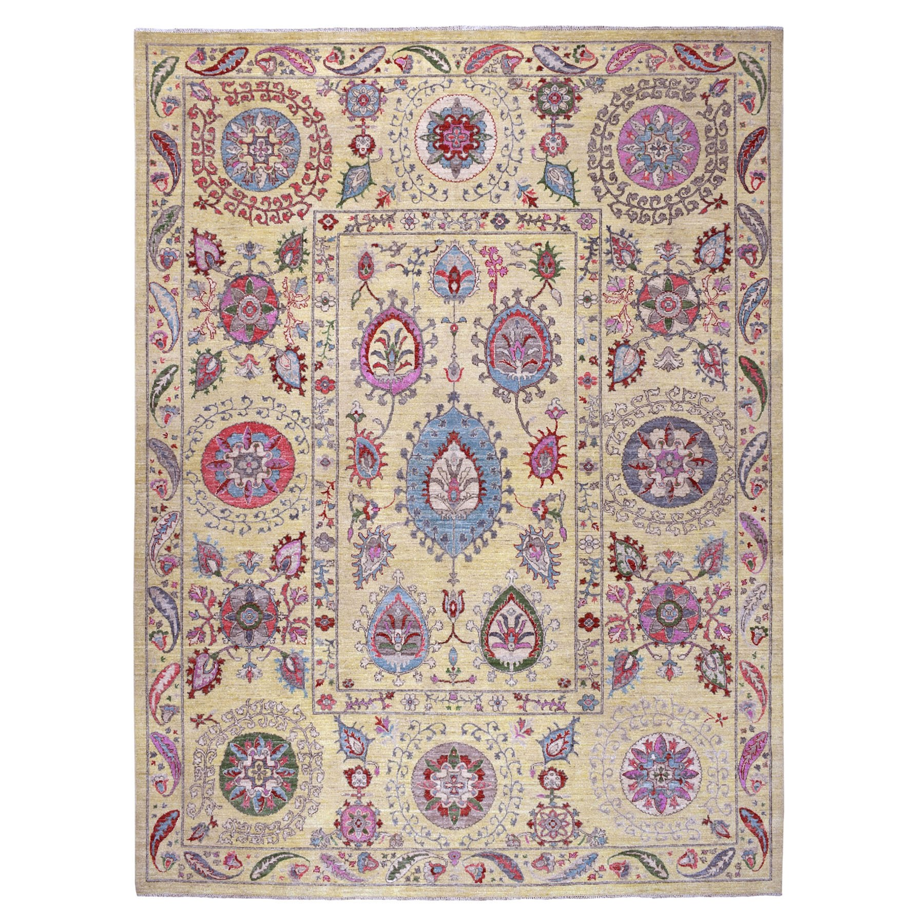 Agra And Turkish Collection Hand Knotted Yellow Rug No: 1107866