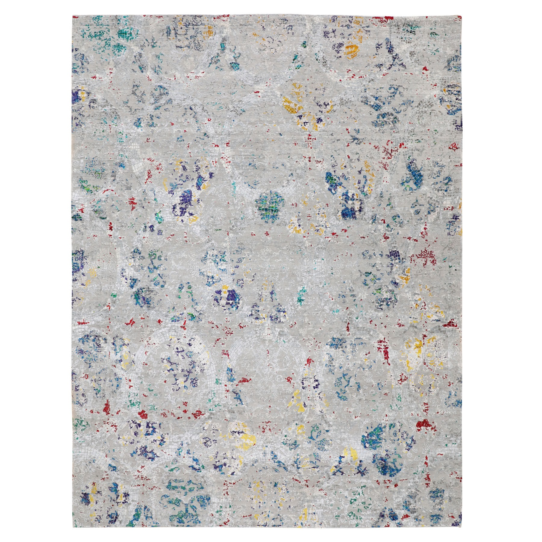 Wool and Real Silk Collection Hand Knotted Grey Rug No: 01116672