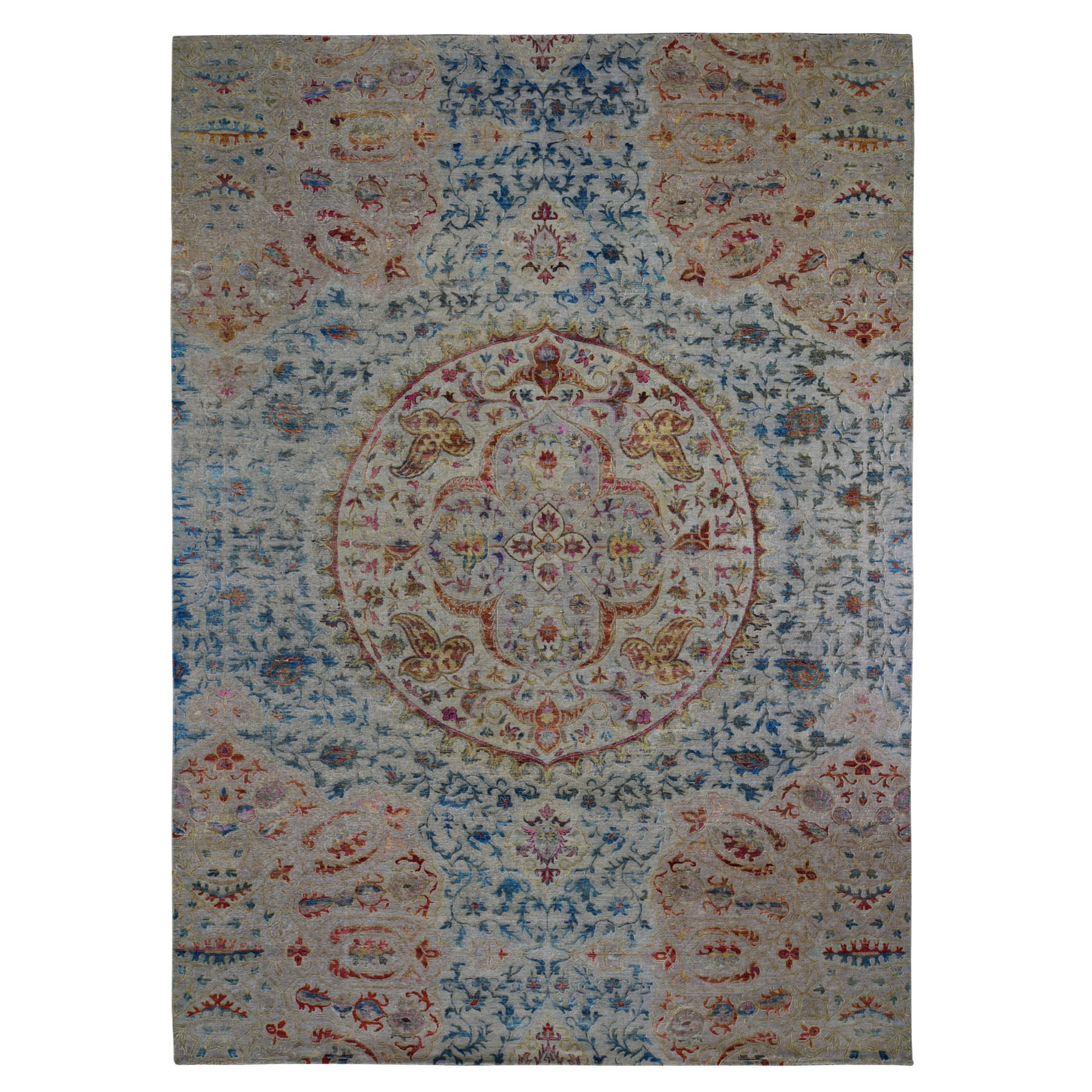 Transitional Hand Knotted Grey Rug No: 1118274