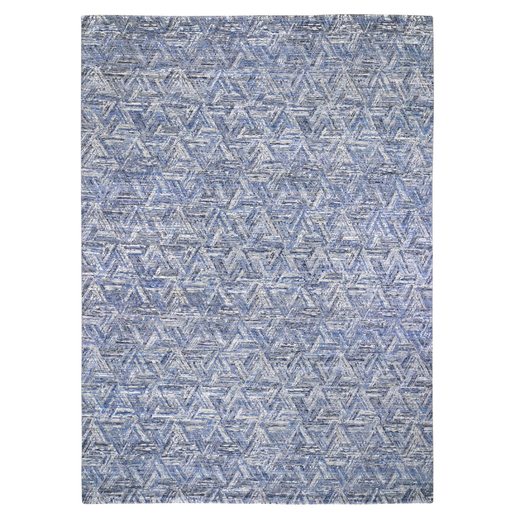Mid Century Modern Collection Hand Knotted Blue Rug No: 1118280