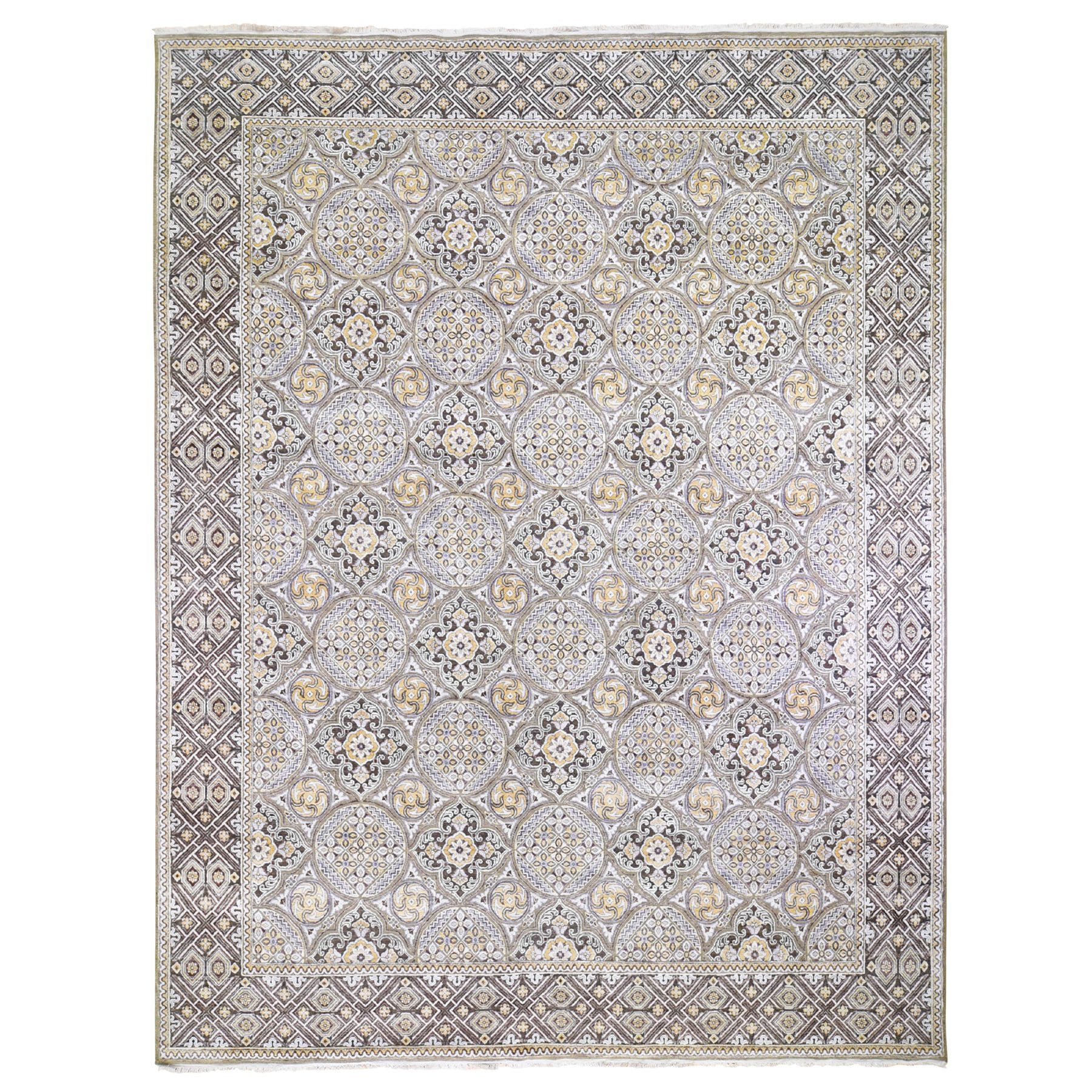 Transitional Hand Knotted Ivory Rug No: 01118308