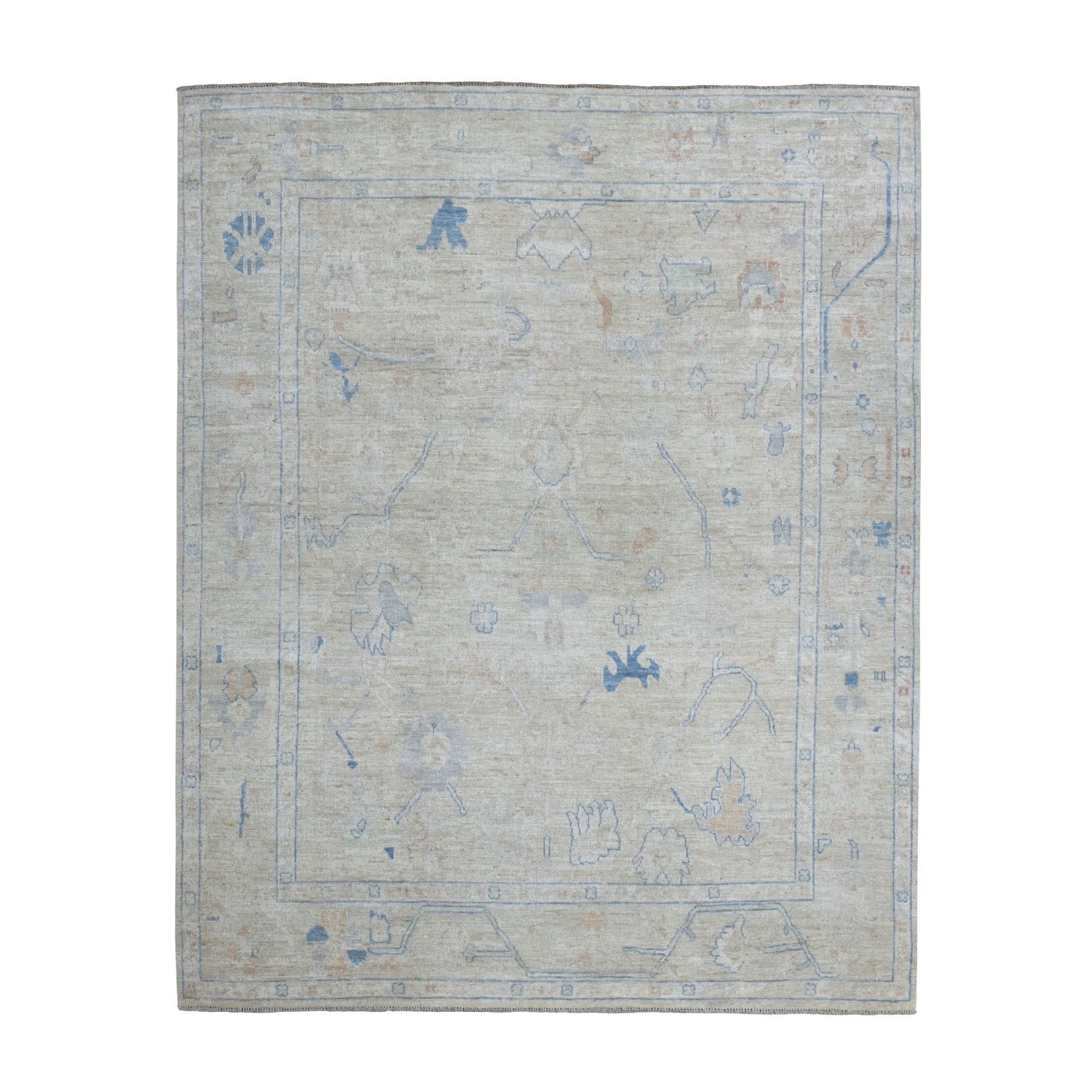 Agra And Turkish Collection Hand Knotted Ivory Rug No: 1109024