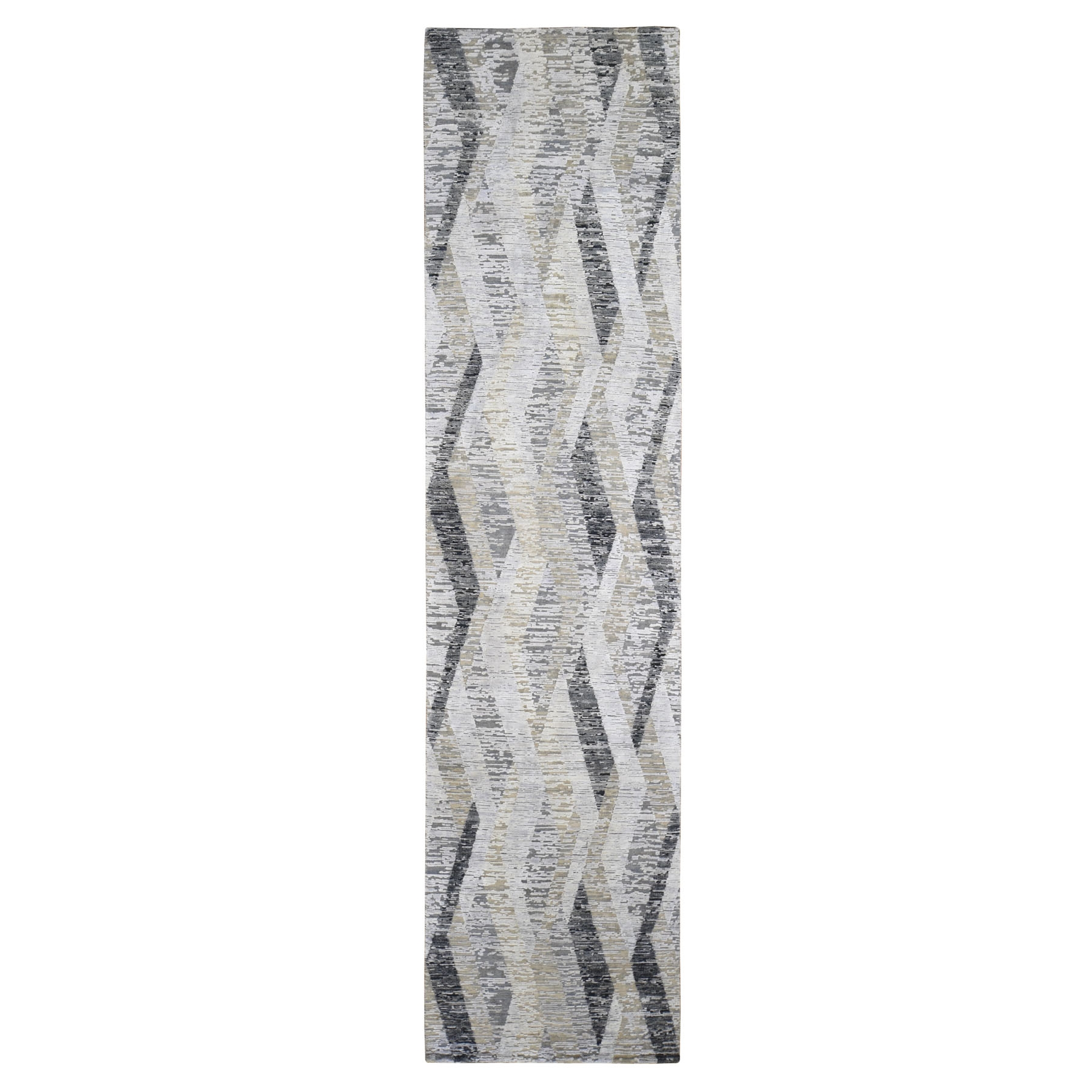 Mid Century Modern Collection Hand Knotted Grey Rug No: 1118324