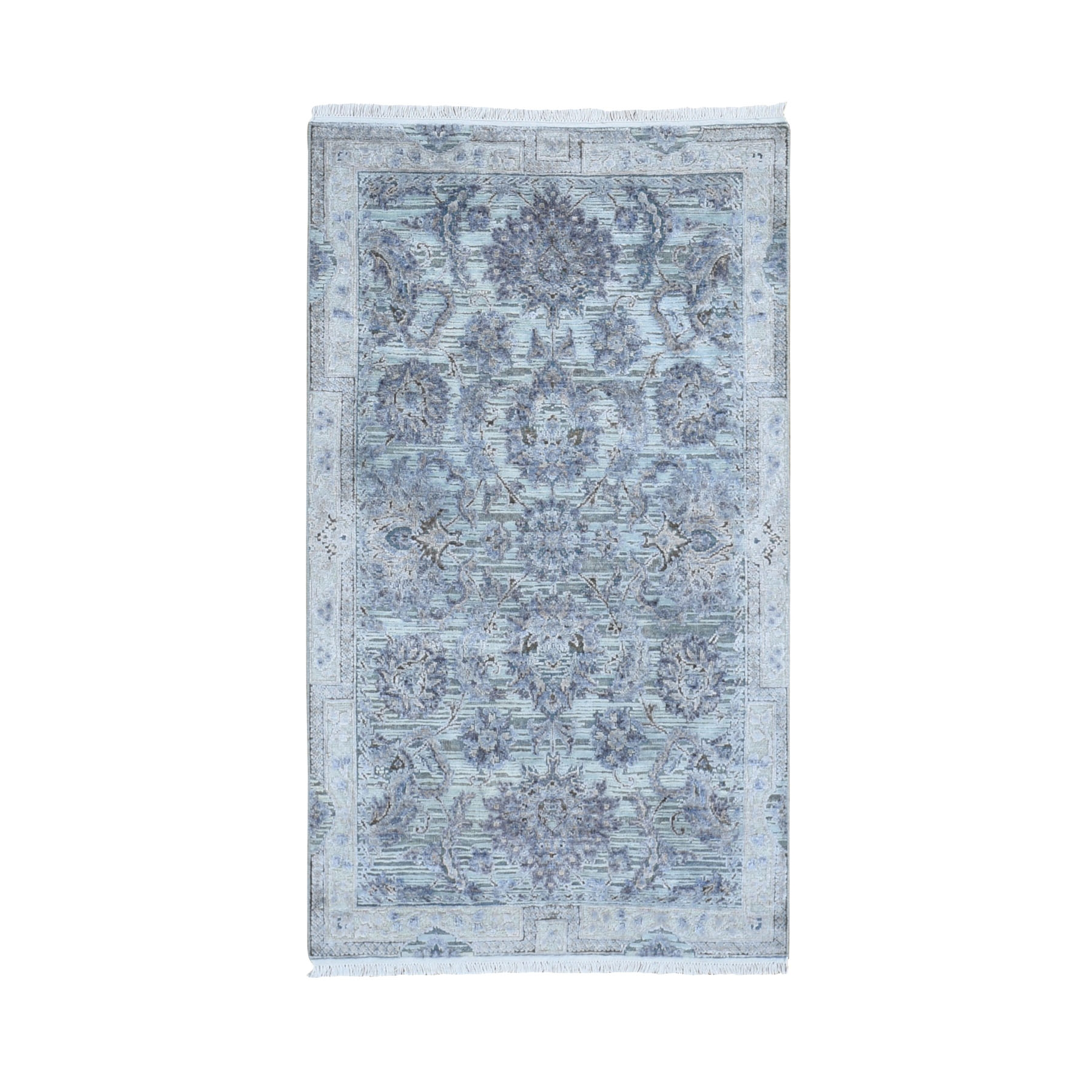 Transitional Hand Knotted Grey Rug No: 1118326