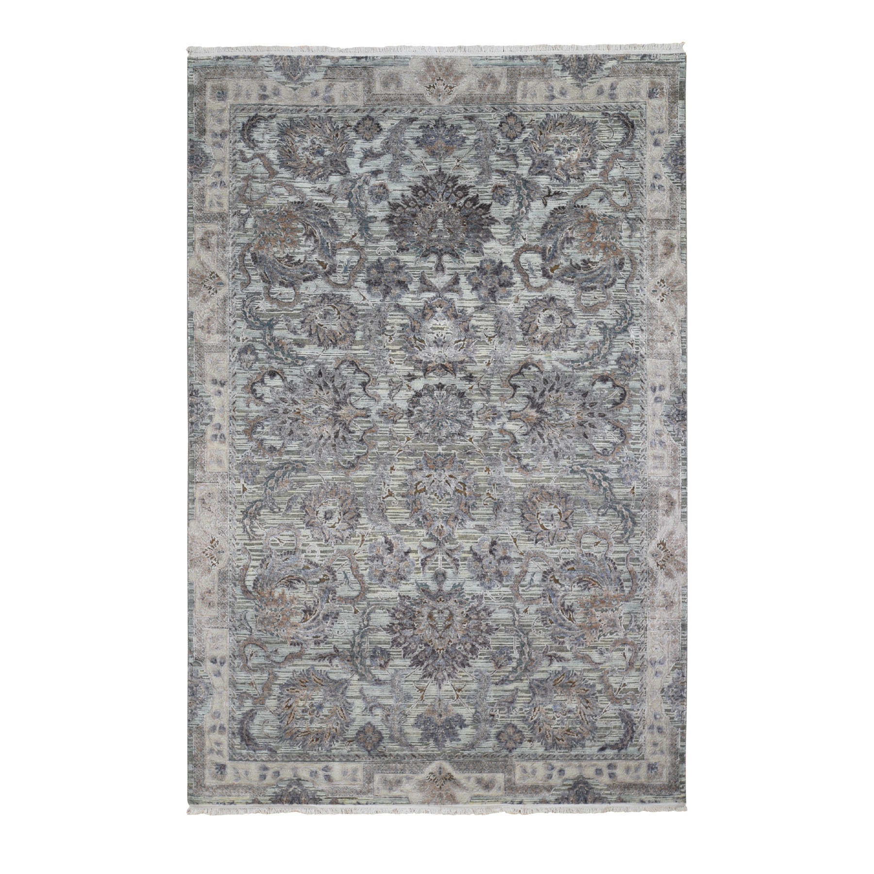 Transitional Hand Knotted Green Rug No: 01118328