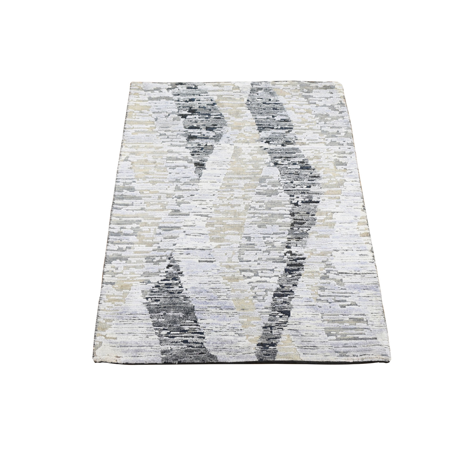 Mid Century Modern Collection Hand Knotted Grey Rug No: 1118330