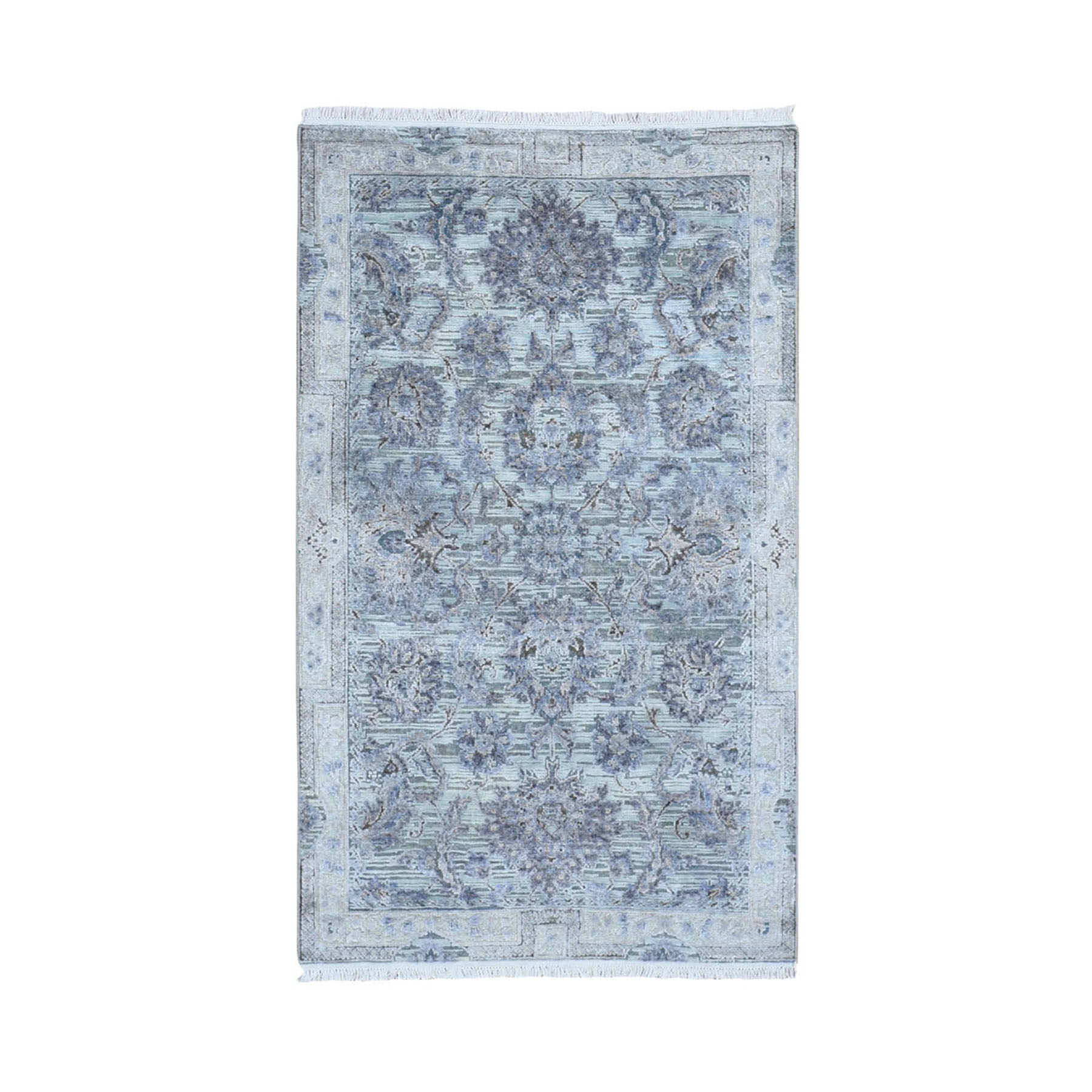 Transitional Hand Knotted Grey Rug No: 1118336