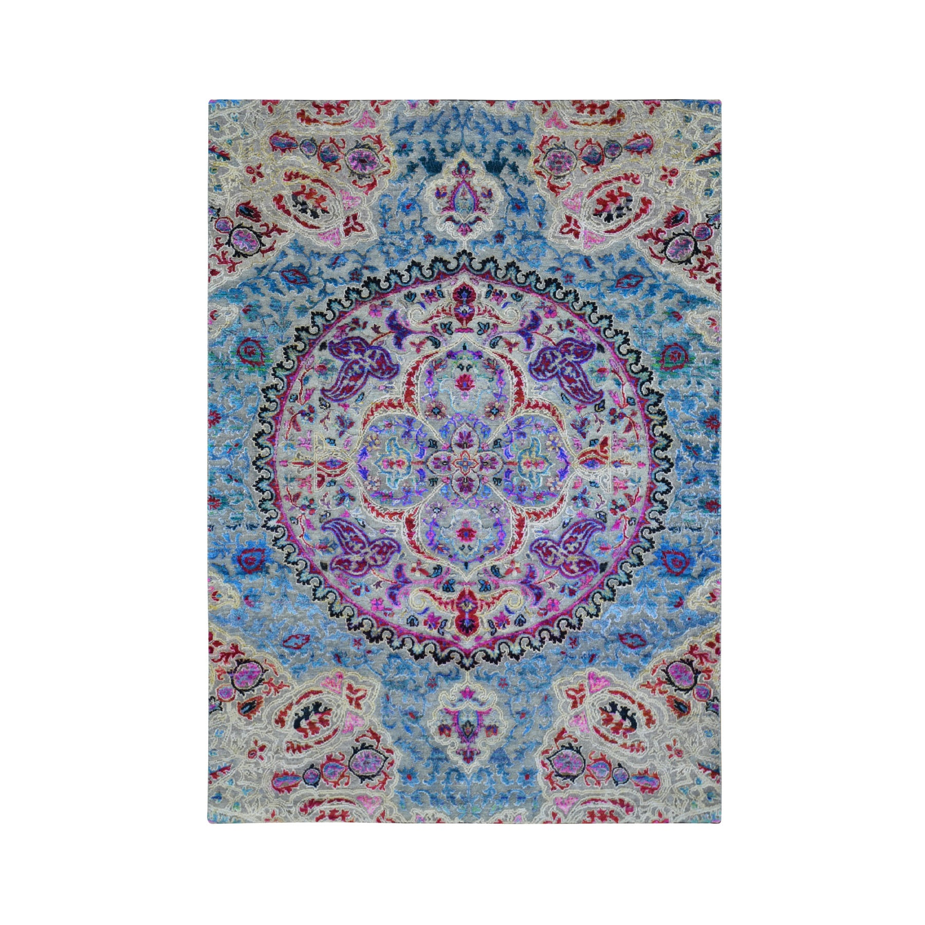 Transitional Hand Knotted Grey Rug No: 1118348