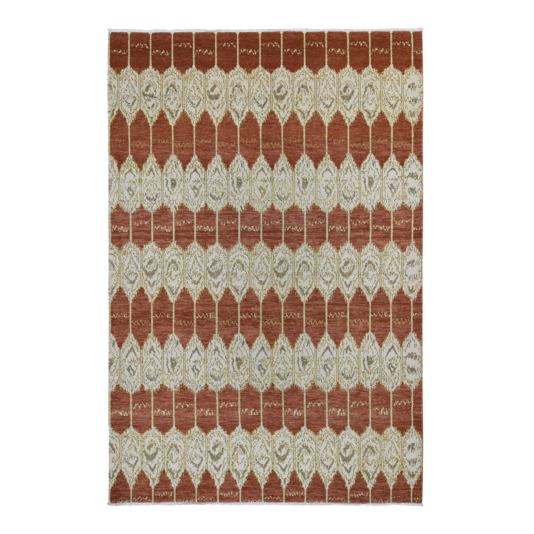 Eclectic and Bohemian Collection Hand Knotted Red Rug No: 1118220