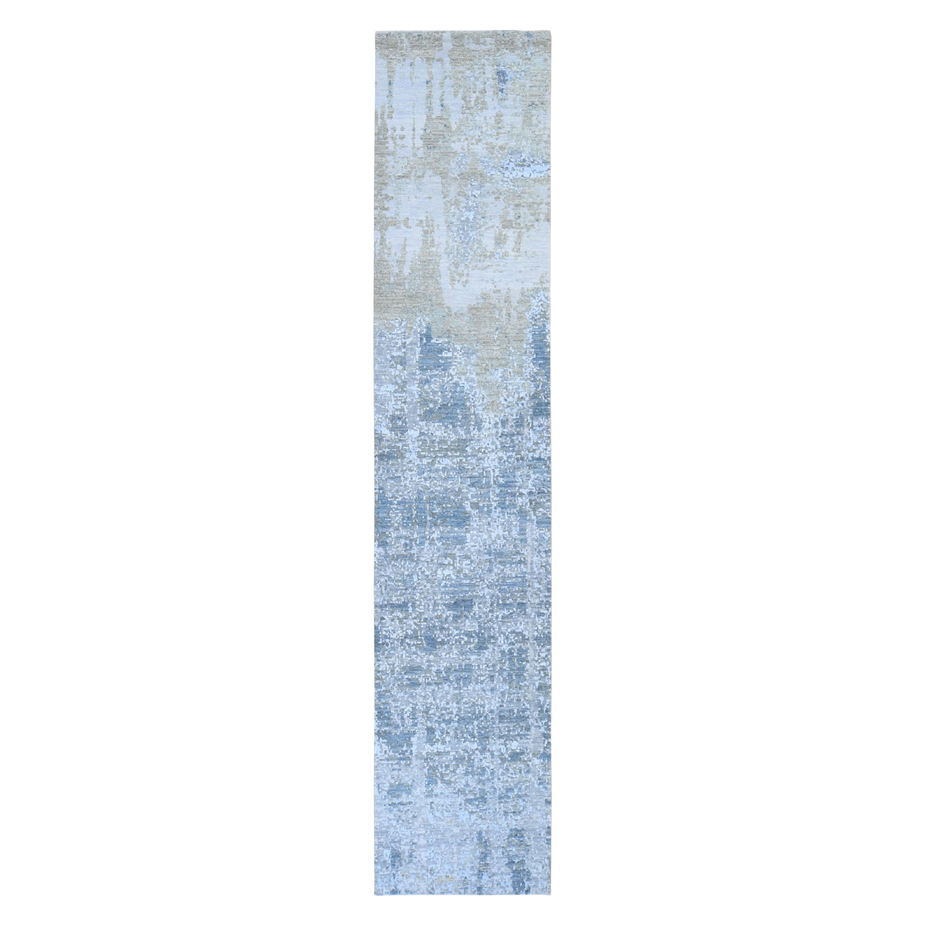 Mid Century Modern Collection Hand Knotted Grey Rug No: 1118226
