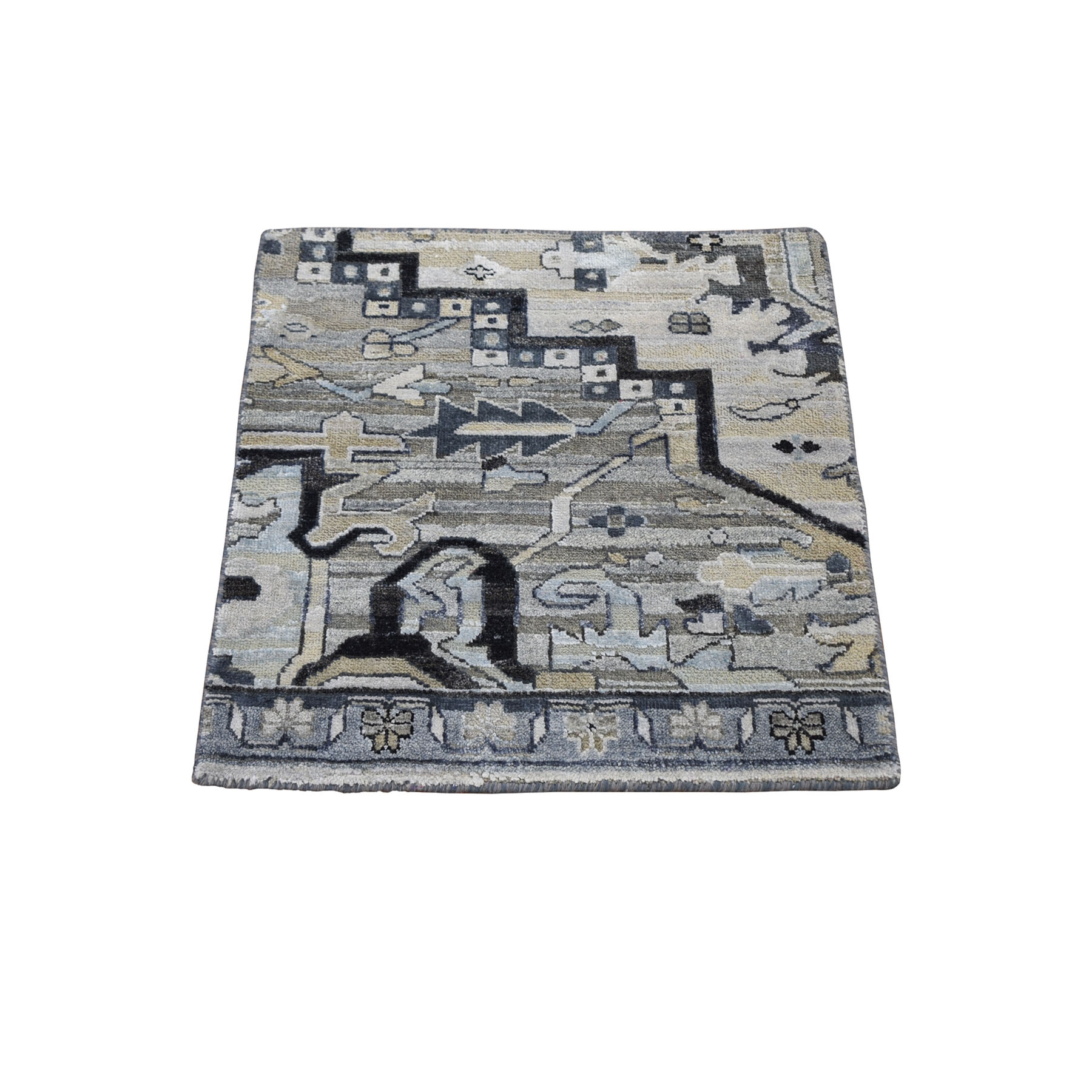 Mid Century Modern Collection Hand Knotted Grey Rug No: 1118242