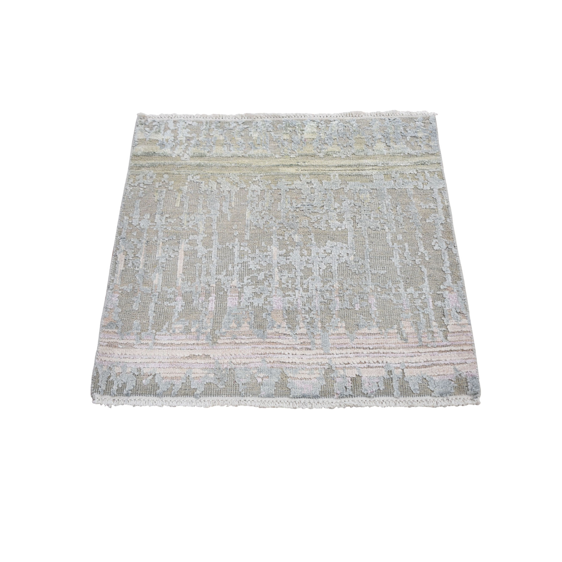Mid Century Modern Collection Hand Knotted Ivory Rug No: 1118246