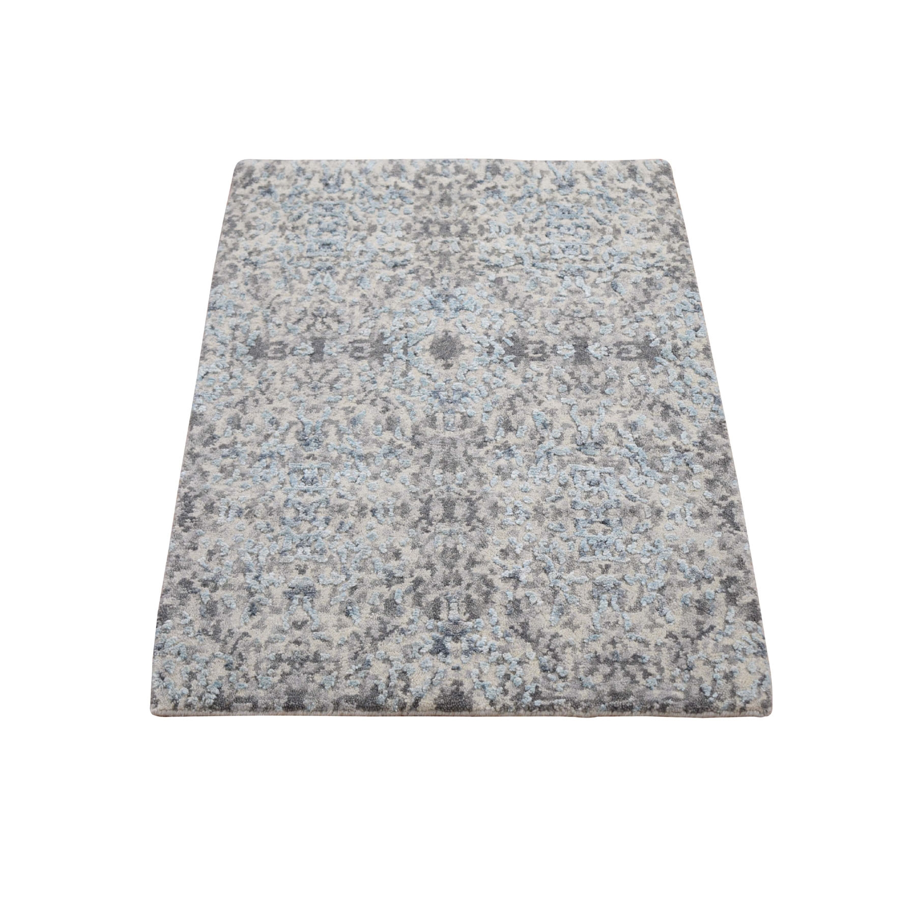 Mid Century Modern Collection Hand Knotted Grey Rug No: 1118260