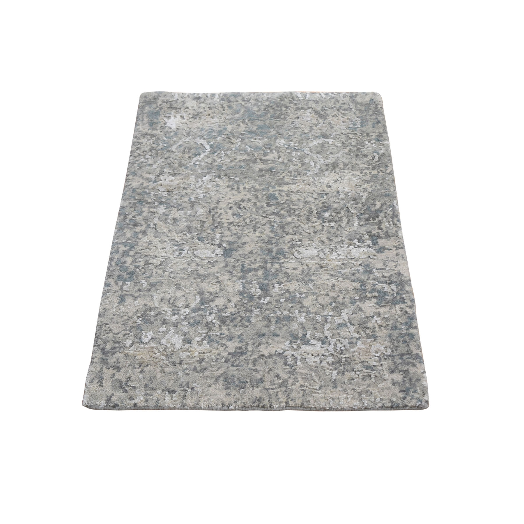Mid Century Modern Collection Hand Knotted Grey Rug No: 1118268