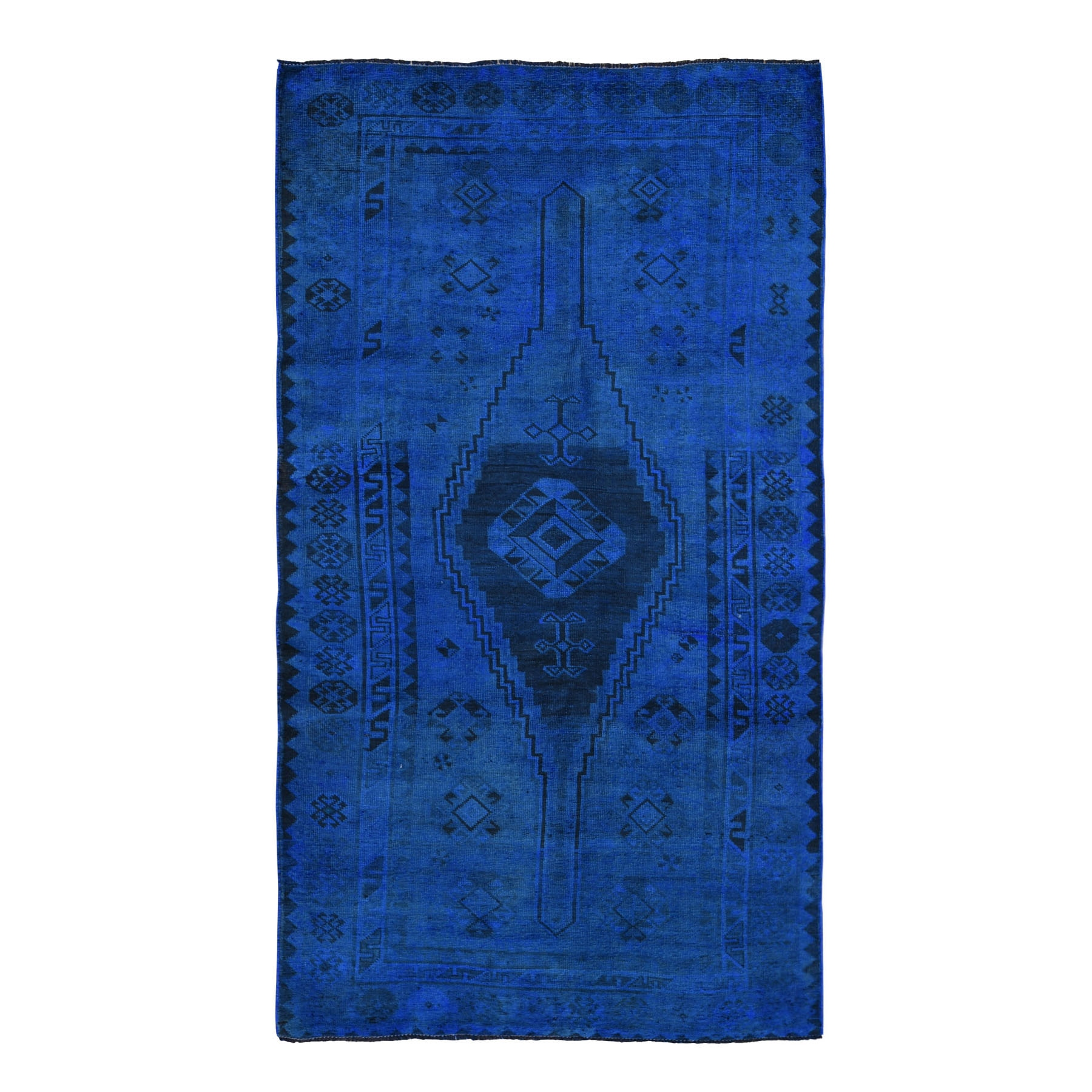 Fetneh Collection And Vintage Overdyed Collection Hand Knotted Blue Rug No: 1118370
