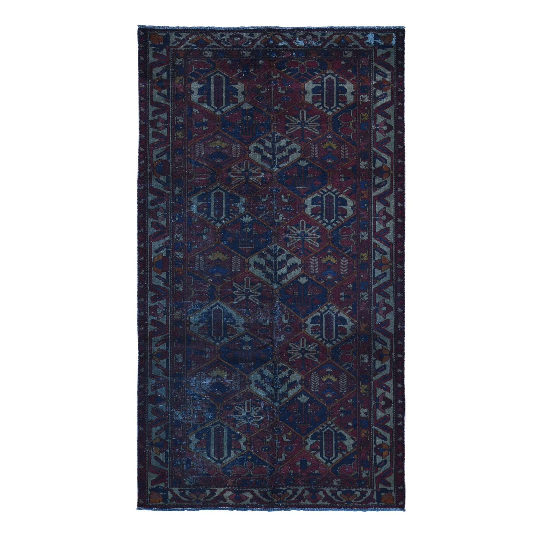 Fetneh Collection And Vintage Overdyed Collection Hand Knotted Red Rug No: 1118374