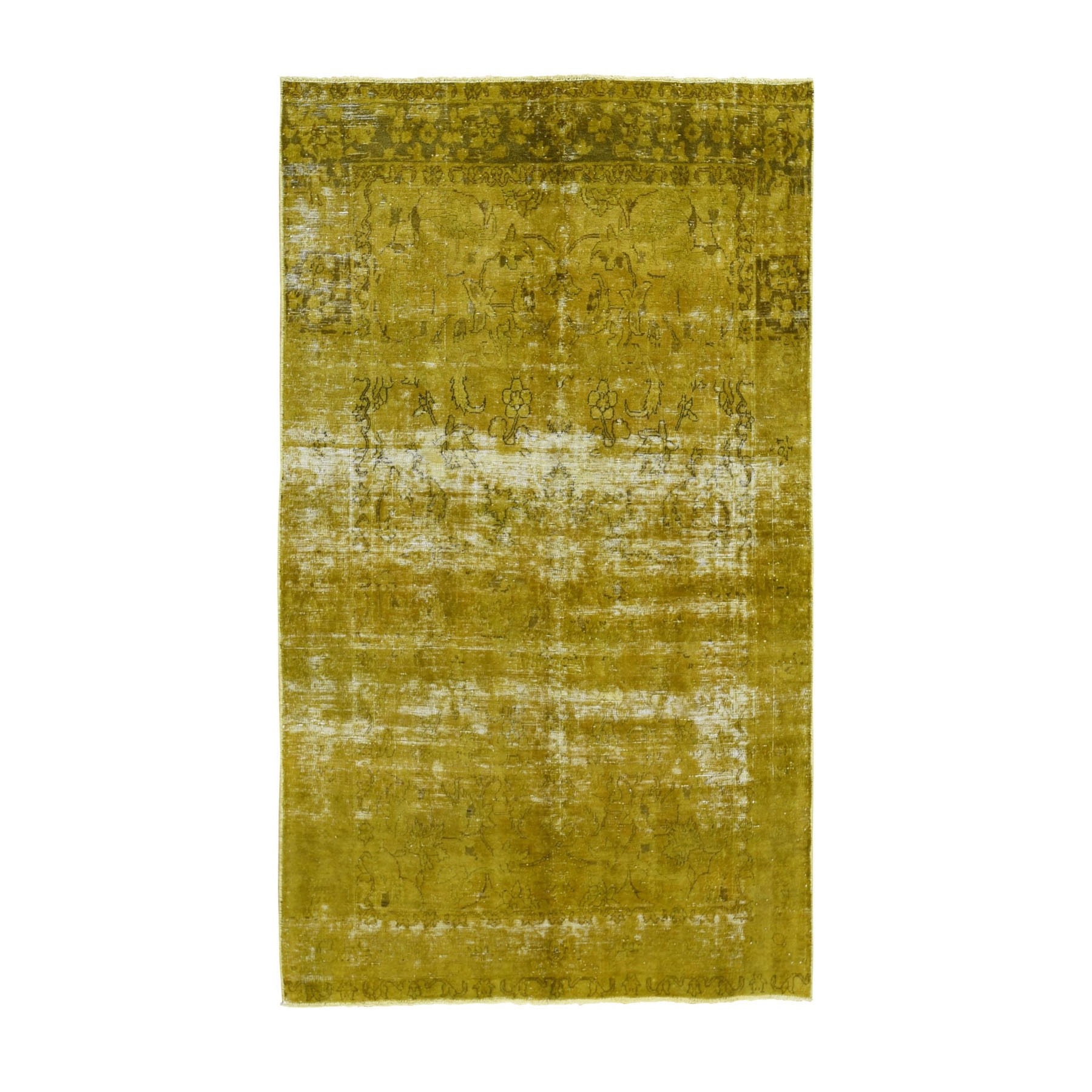 Fetneh Collection And Vintage Overdyed Collection Hand Knotted Yellow Rug No: 1118384