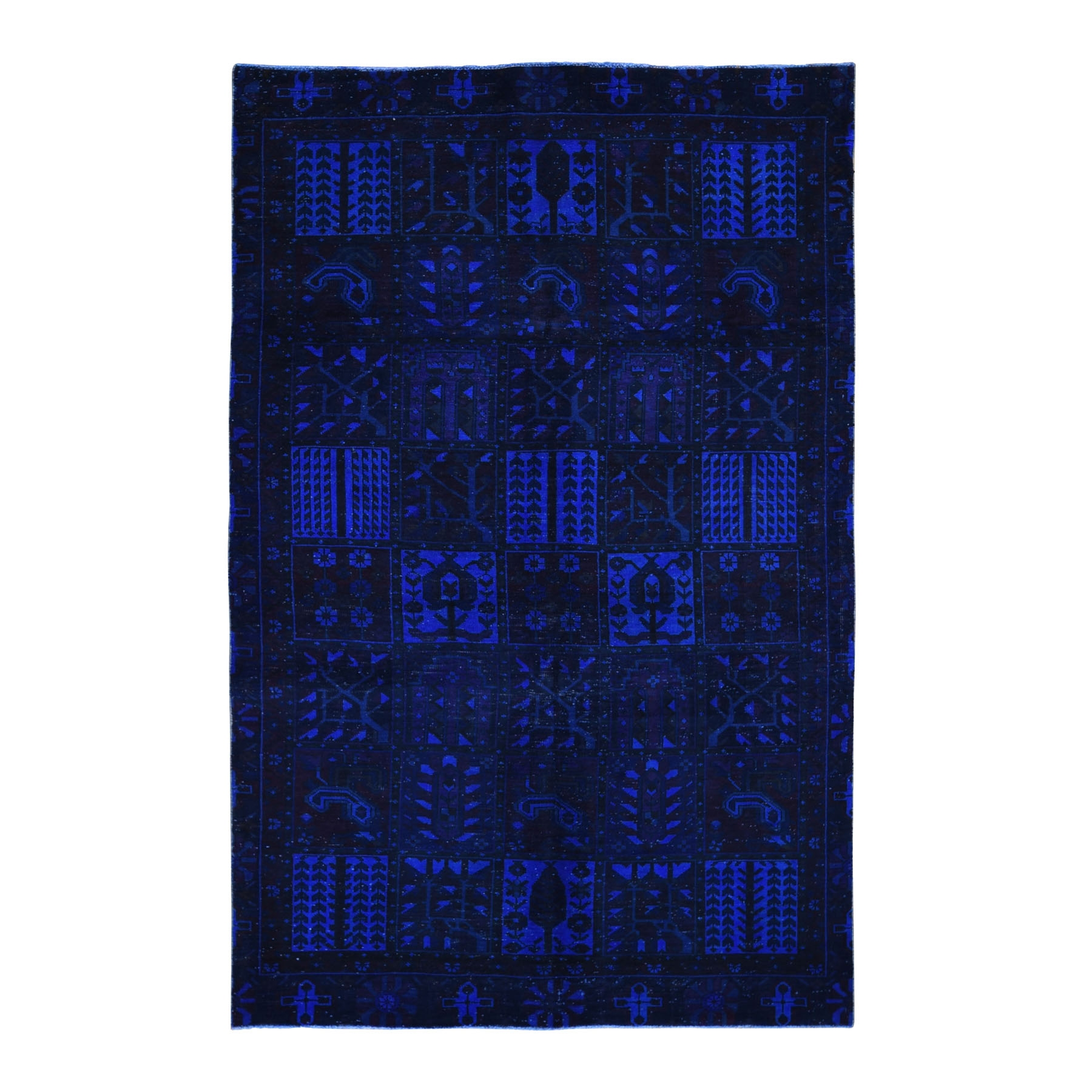 Fetneh Collection And Vintage Overdyed Collection Hand Knotted Blue Rug No: 01118414