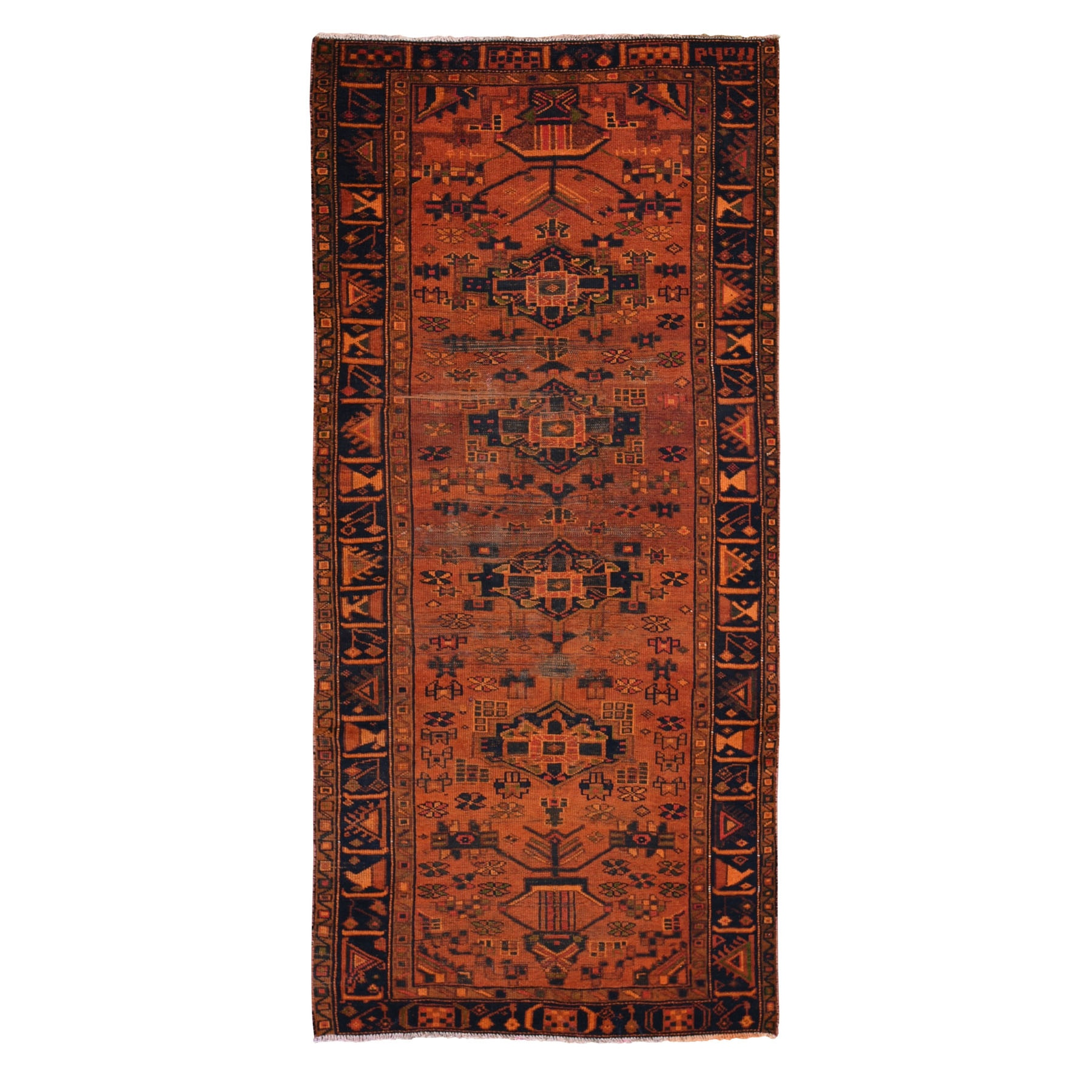 Fetneh Collection And Vintage Overdyed Collection Hand Knotted Orange Rug No: 1118424
