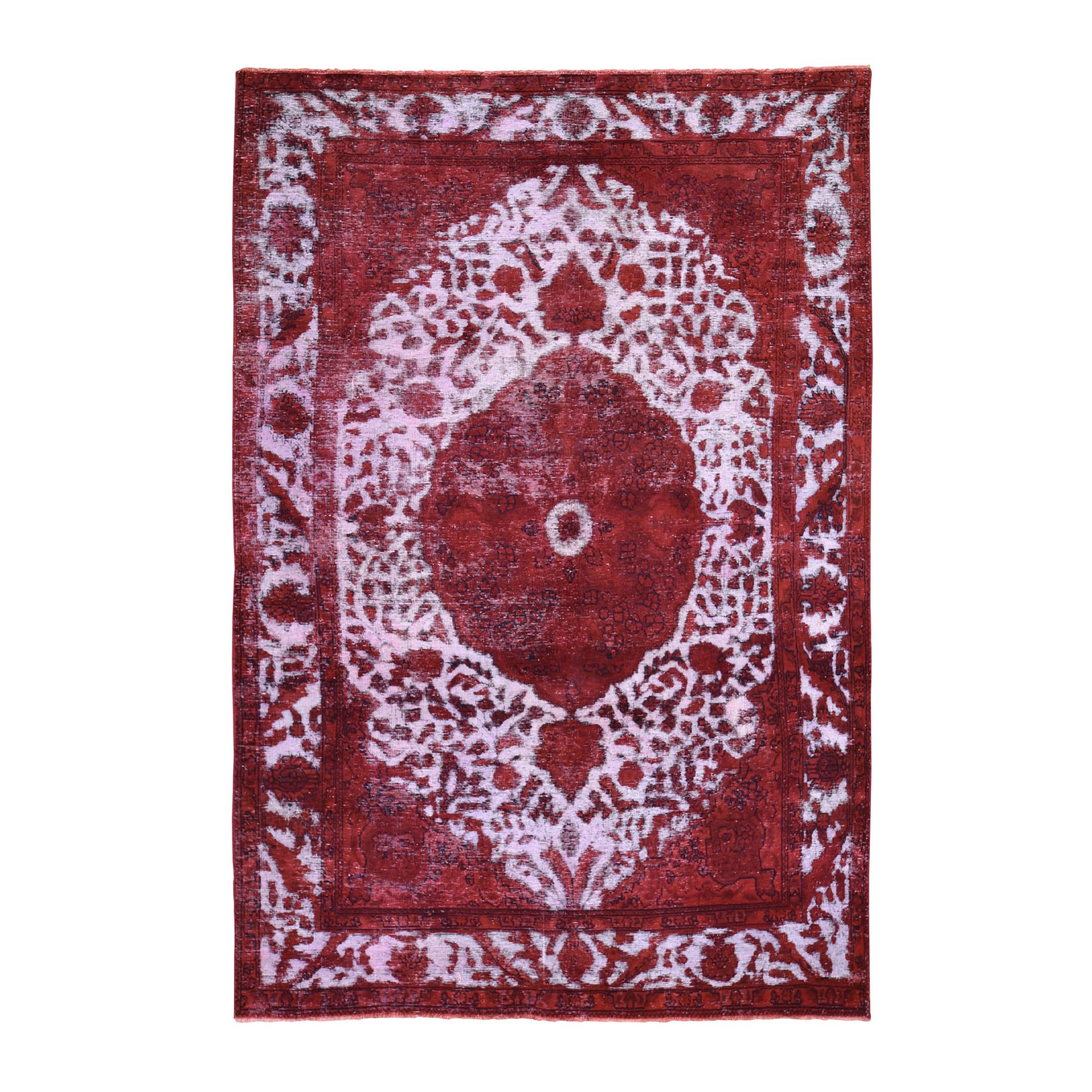 Fetneh Collection And Vintage Overdyed Collection Hand Knotted Red Rug No: 1118426