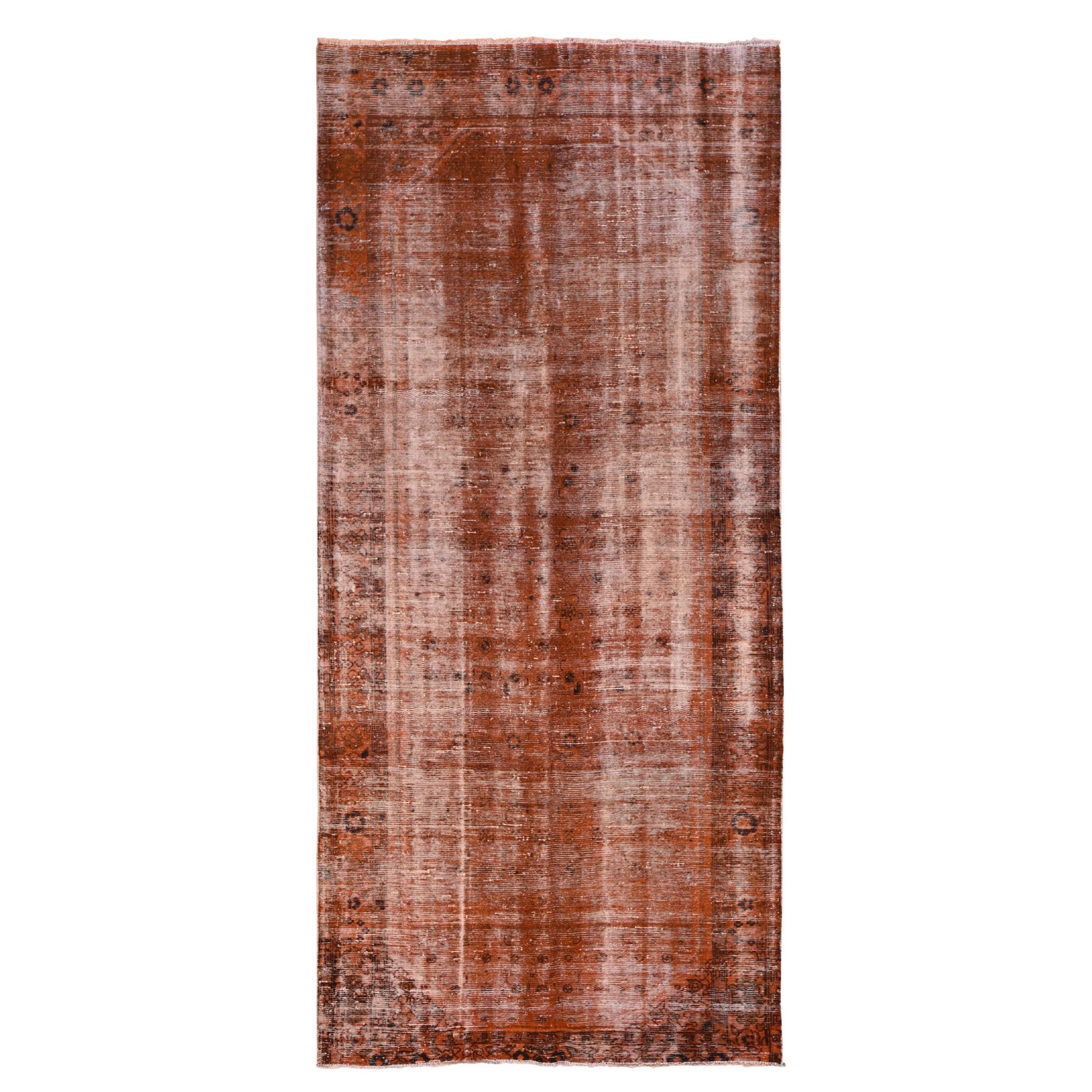 Fetneh Collection And Vintage Overdyed Collection Hand Knotted Orange Rug No: 1118428