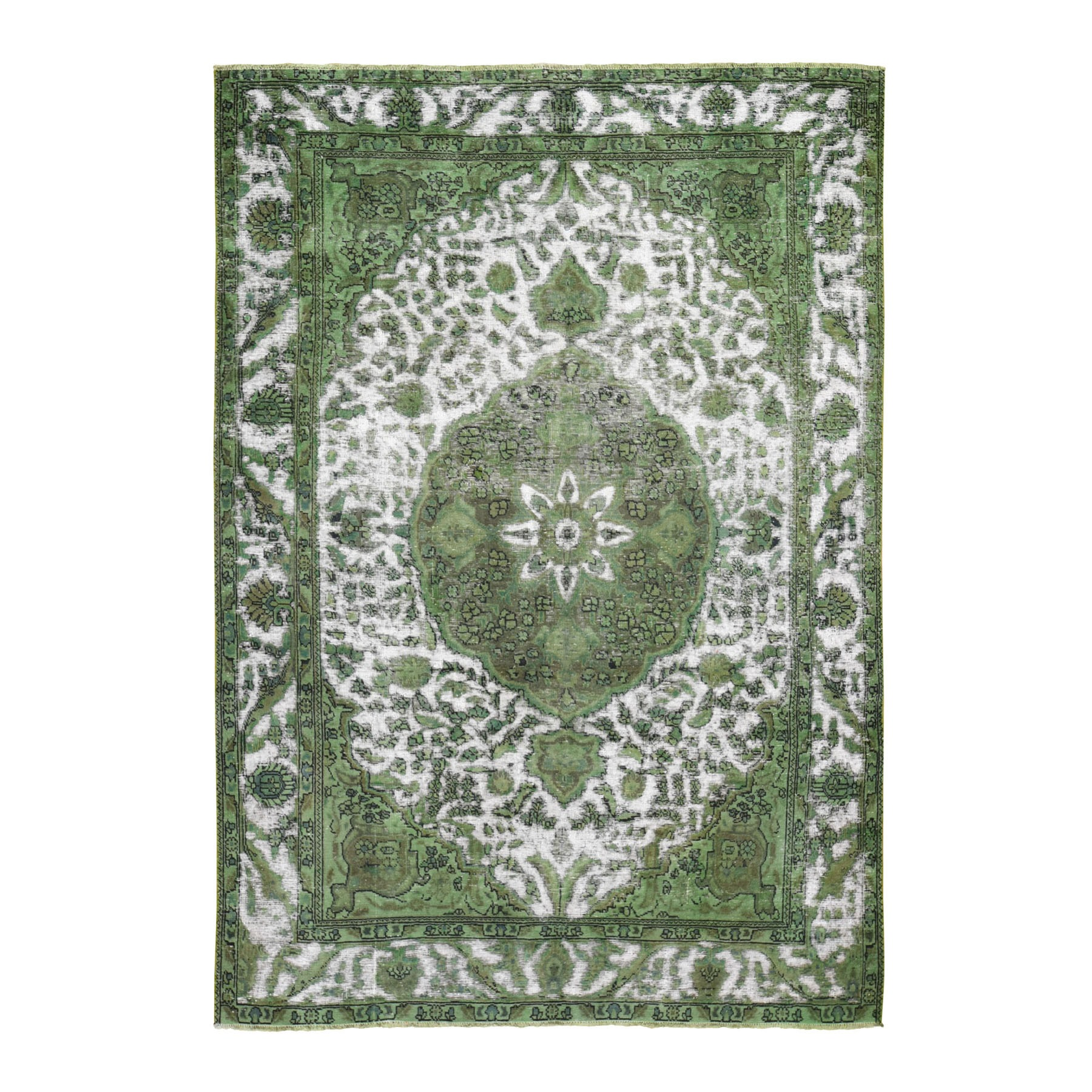 Fetneh Collection And Vintage Overdyed Collection Hand Knotted Green Rug No: 1118438