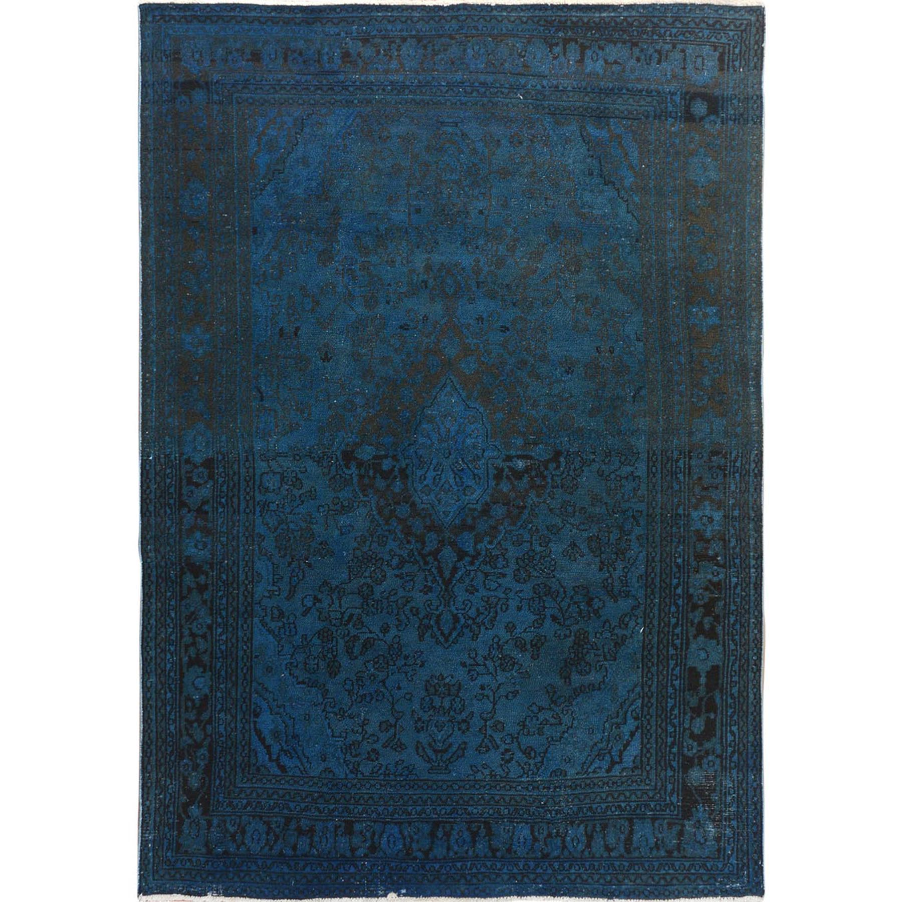 Fetneh Collection And Vintage Overdyed Collection Hand Knotted Blue Rug No: 1114738