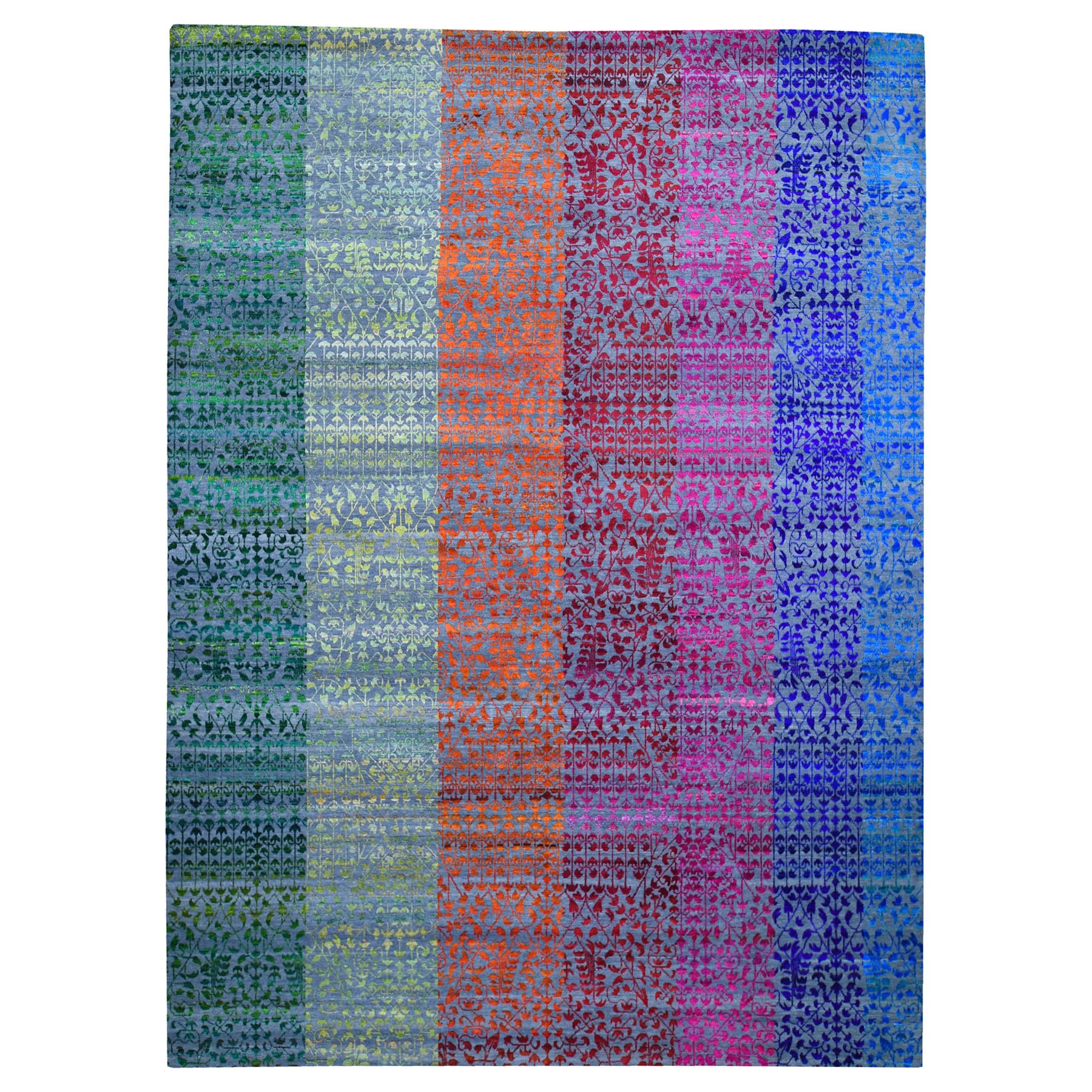Mid Century Modern Collection Hand Knotted Grey Rug No: 1118500