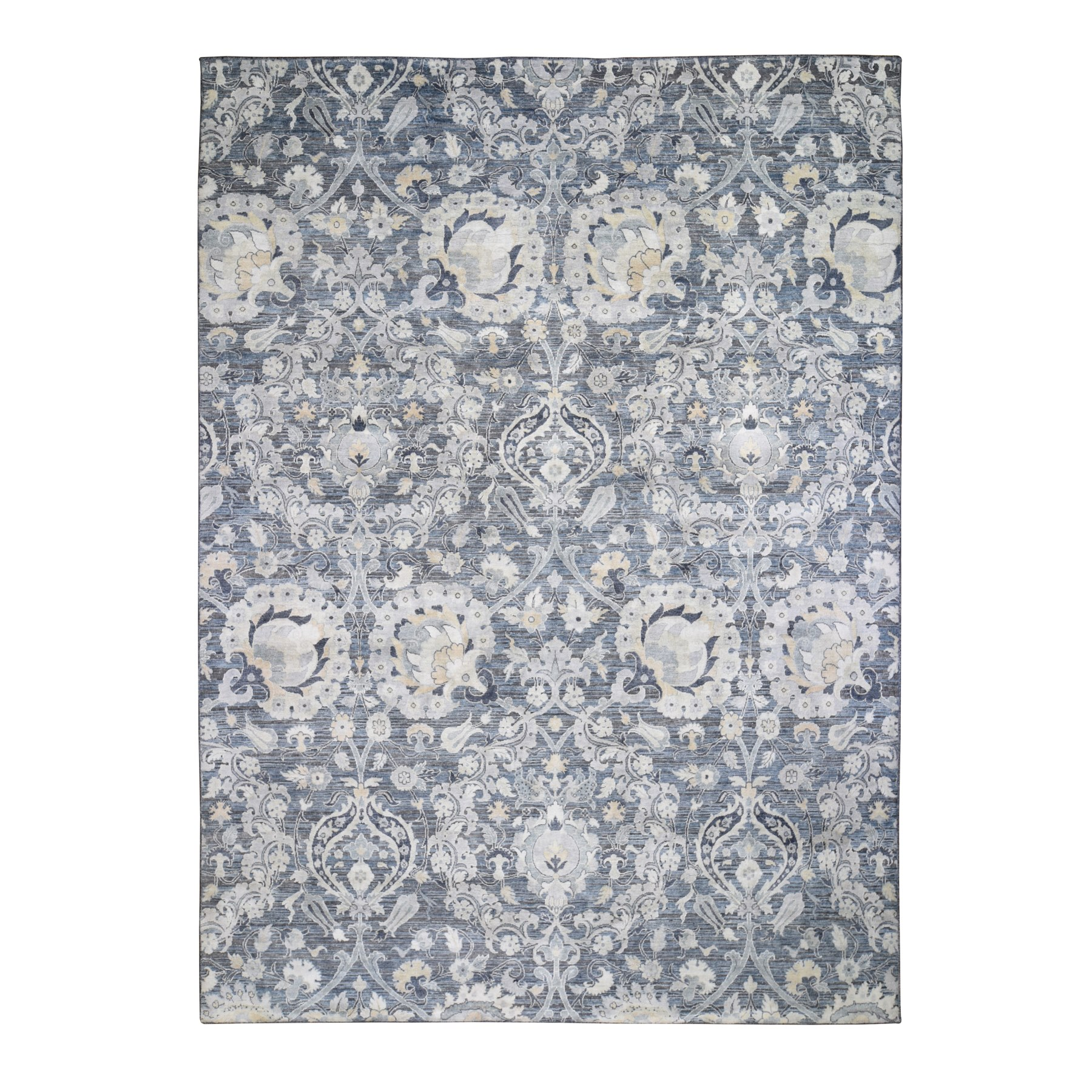Wool and Real Silk Collection Hand Knotted Blue Rug No: 1118444