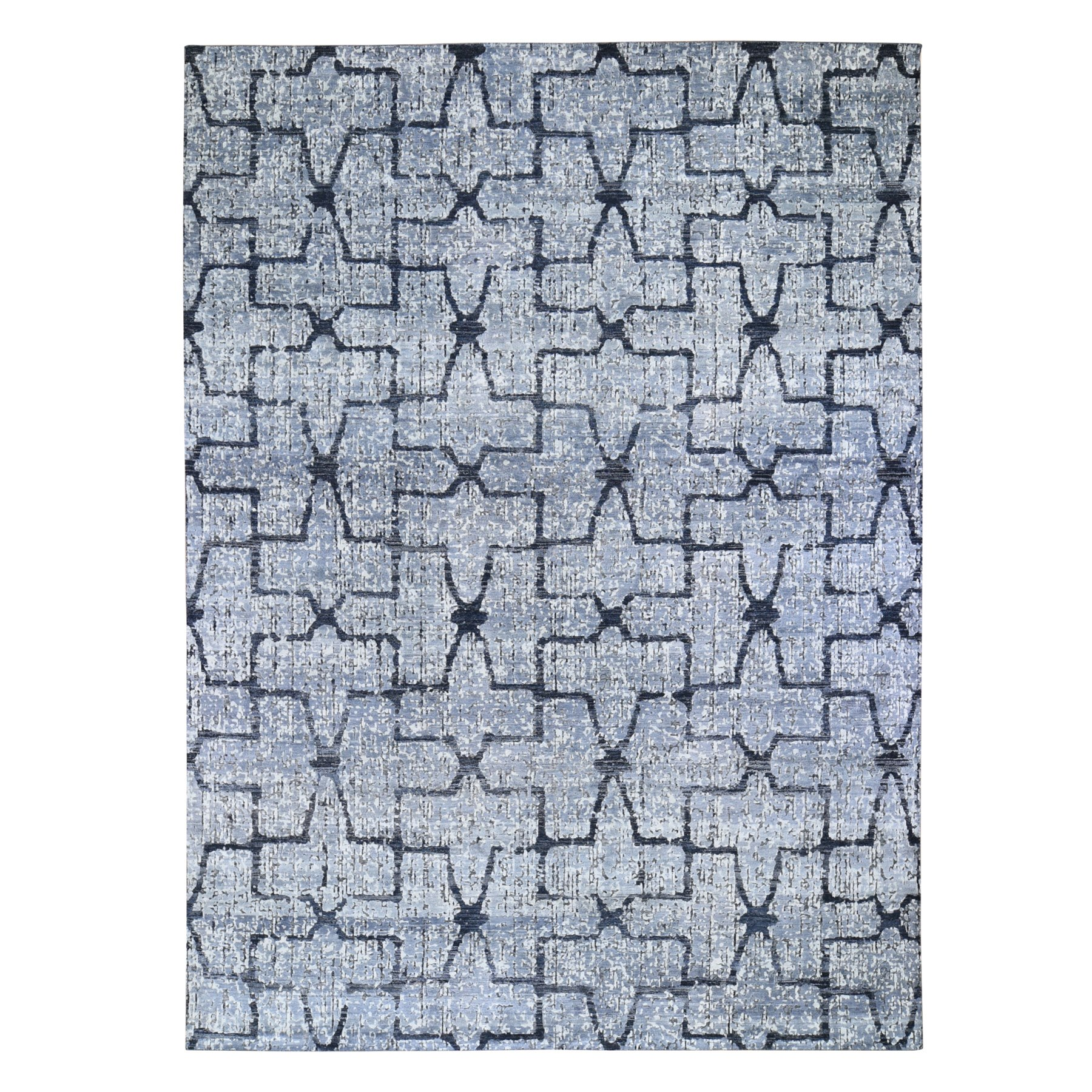 Wool and Real Silk Collection Hand Knotted Grey Rug No: 1118456