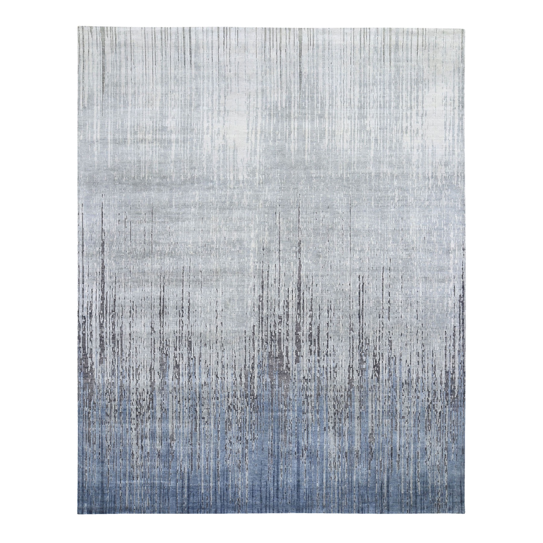 Mid Century Modern Collection Hand Knotted Grey Rug No: 1118498