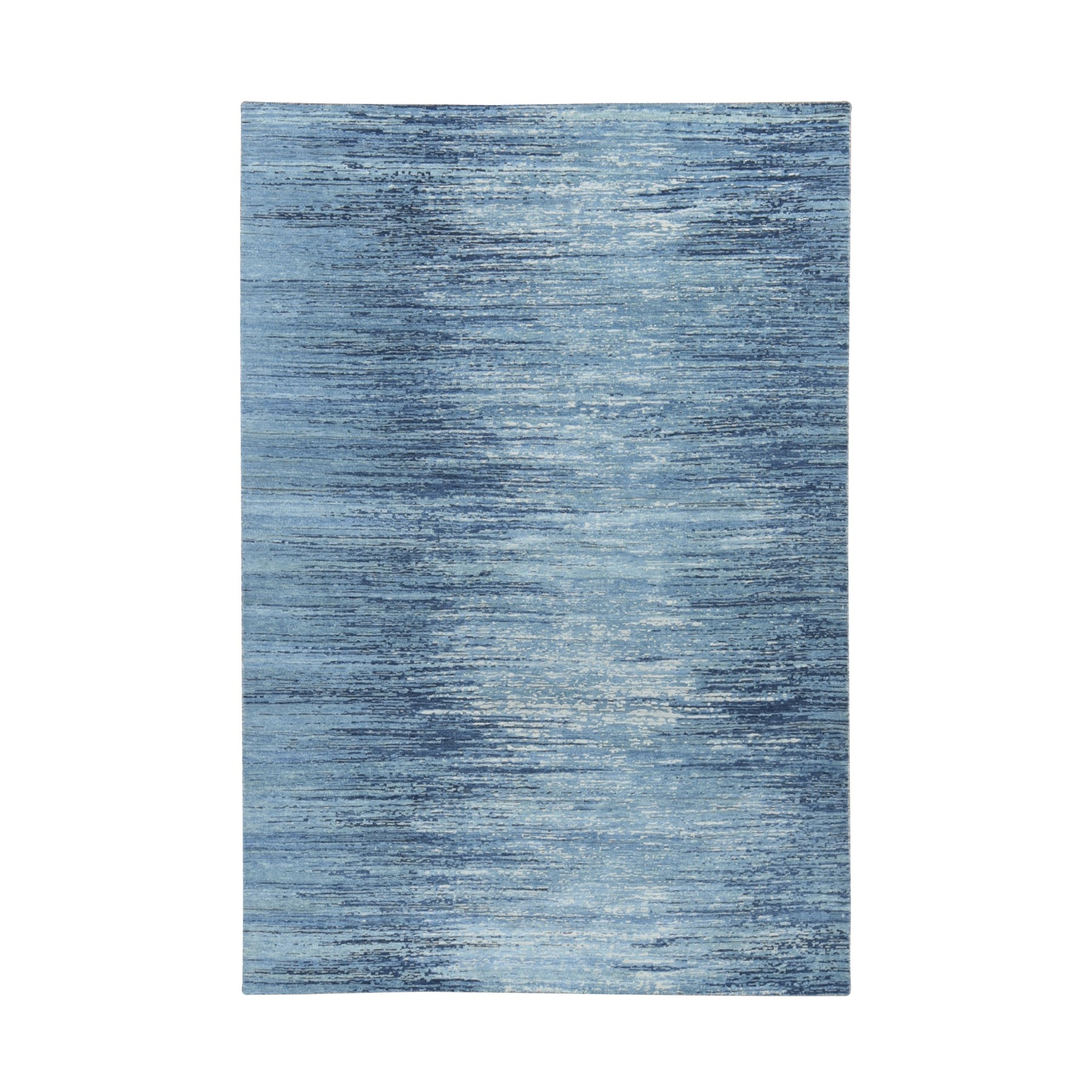 Mid Century Modern Collection Hand Knotted Blue Rug No: 01118512