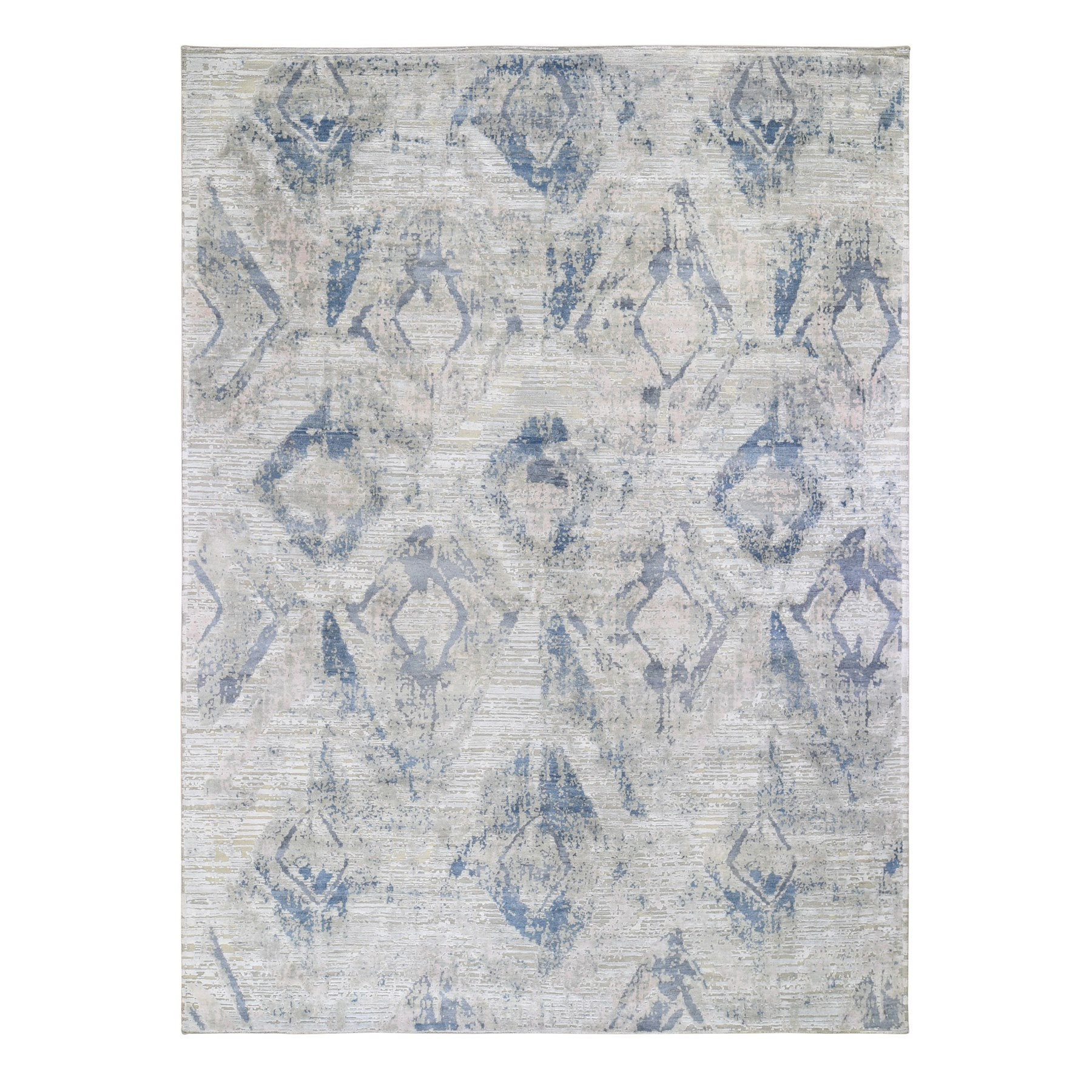 Wool and Real Silk Collection Hand Knotted Ivory Rug No: 1118518